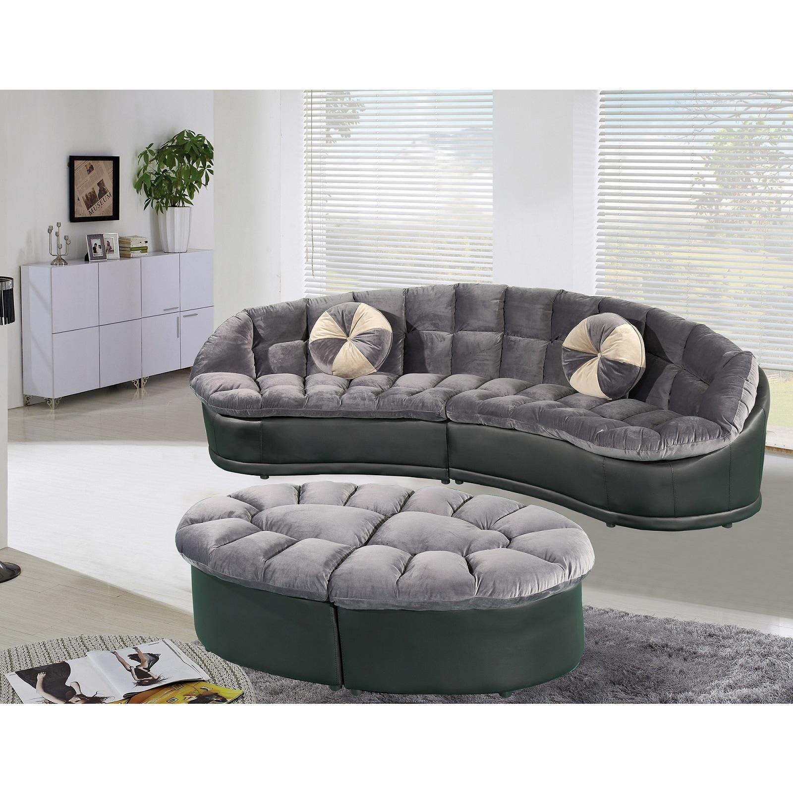 Papasan Modernstyle Velvet 2piece Sectional Sofa with Ottoman Set
