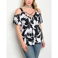 JED Women's Plus Size Black and White Cold Shoulder Floral Top