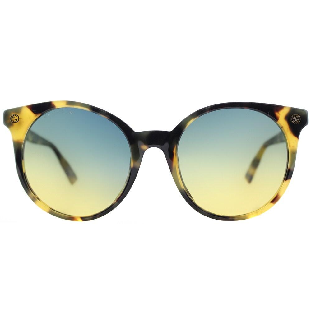 02338ac76d Gucci GG 0091S 003 Light Havana Plastic Round Sunglasses Grey Gradient Lens