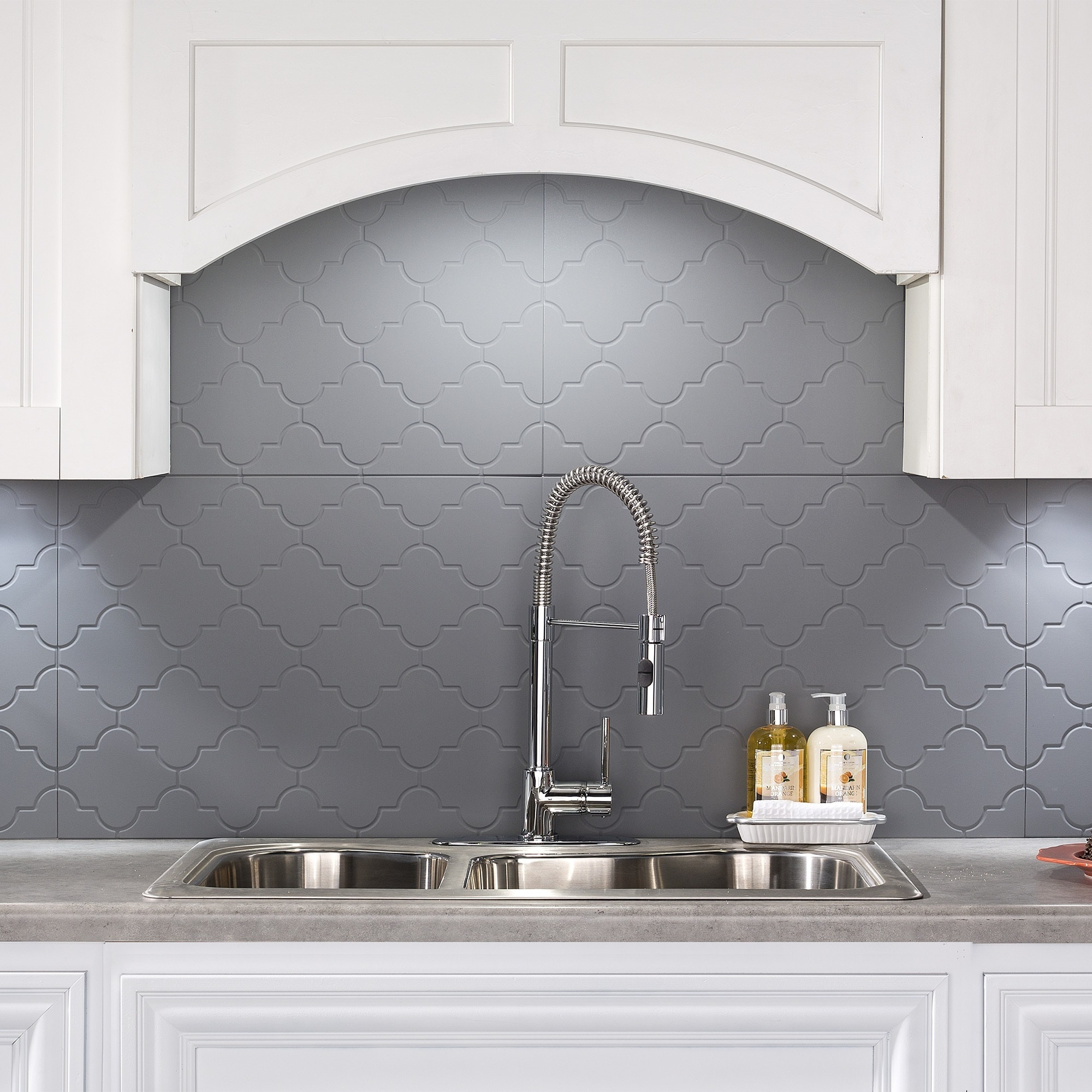 Shop Fasade Monaco Titanium Grey 18 Inch X 24 Inch Backsplash Panel