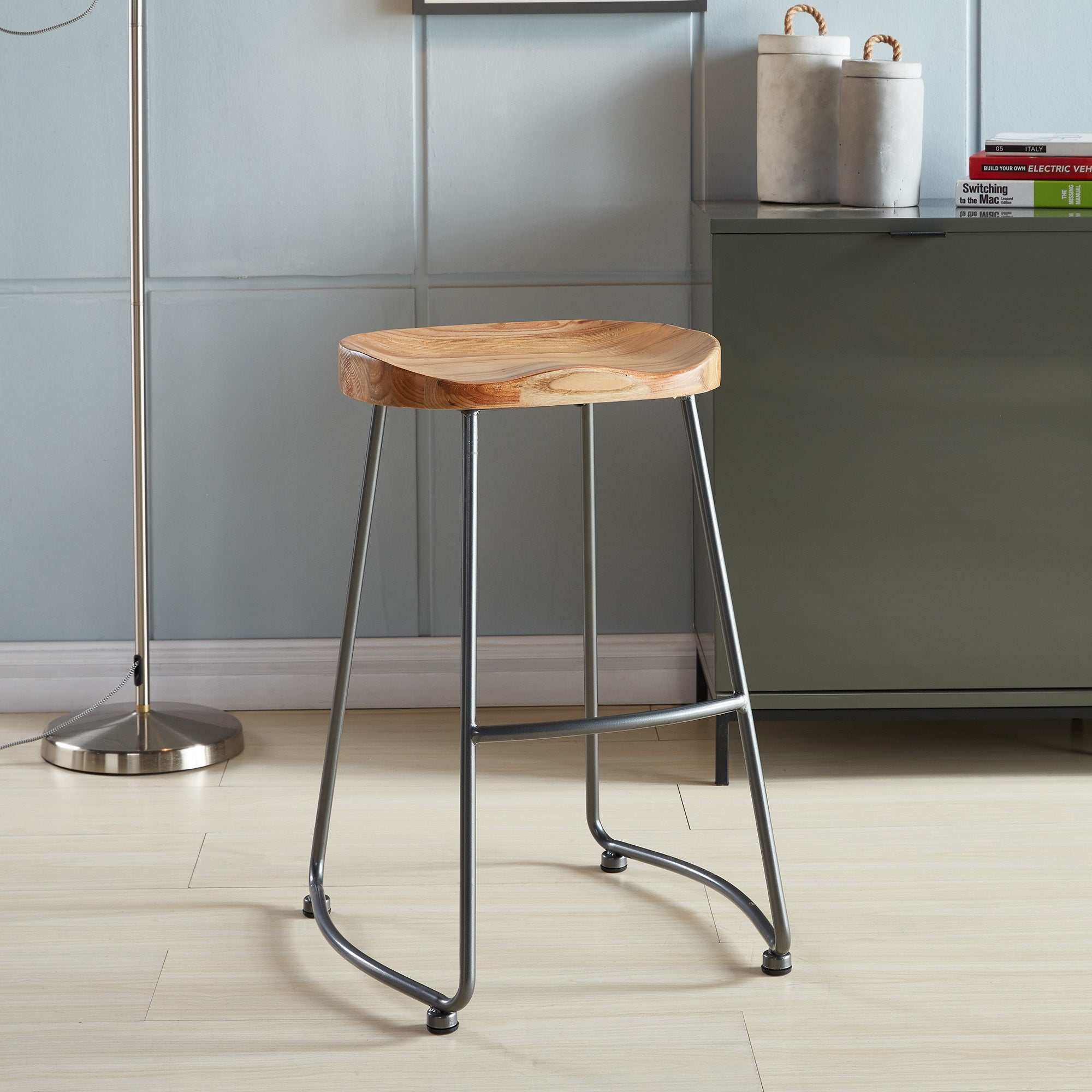 Shop moka solid wood and metal counter stool set of 2 free shipping today overstock com 16341602