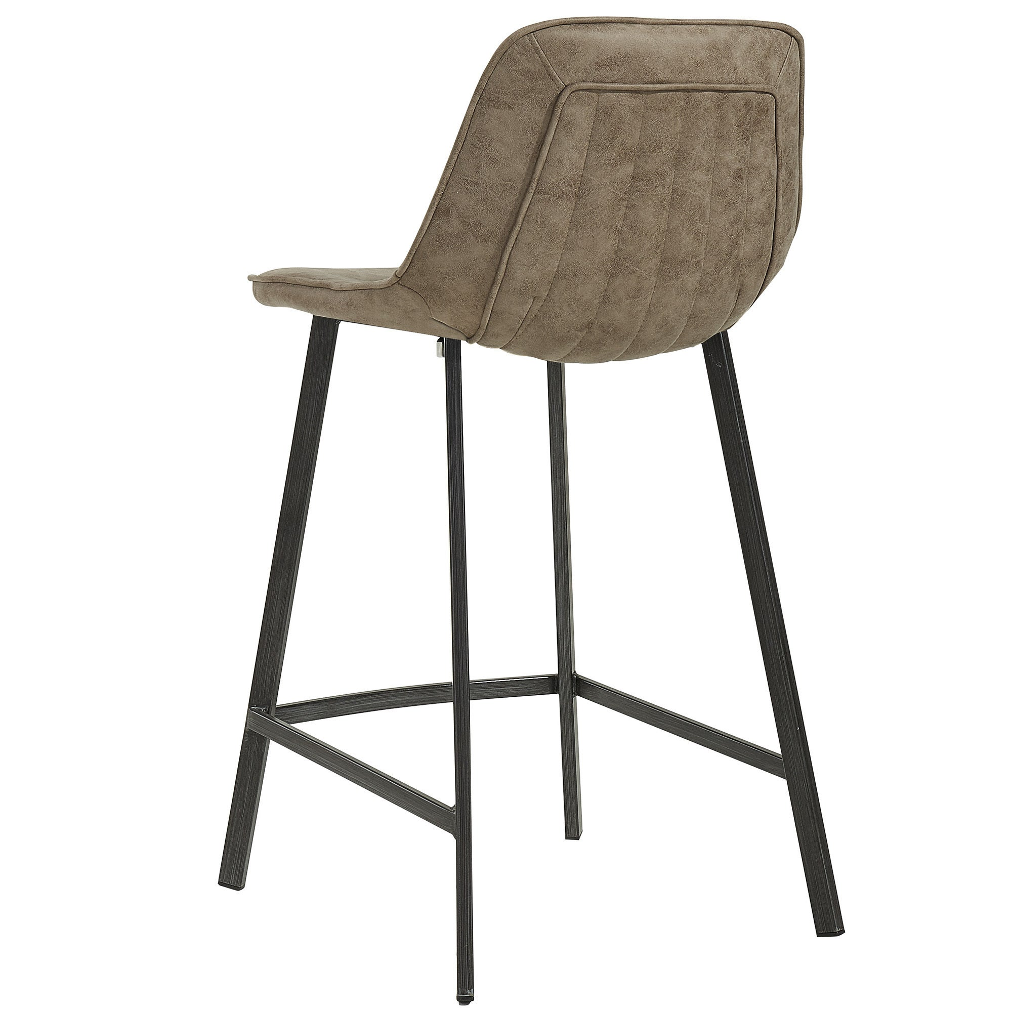 Buren Faux Suede And Metal Counter Stools (Set Of 2)