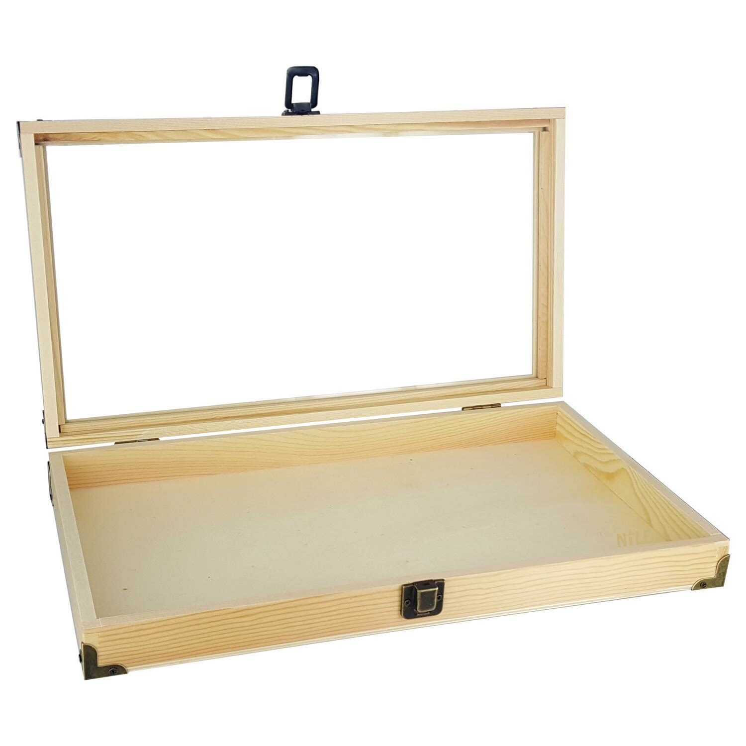 Shop Ikee Design Natural Wooden Color Glass Top Jewelry Display Case Accessories Storage Box With Brass C - Free Shipping On Orders Over $45 - Overstock - ...