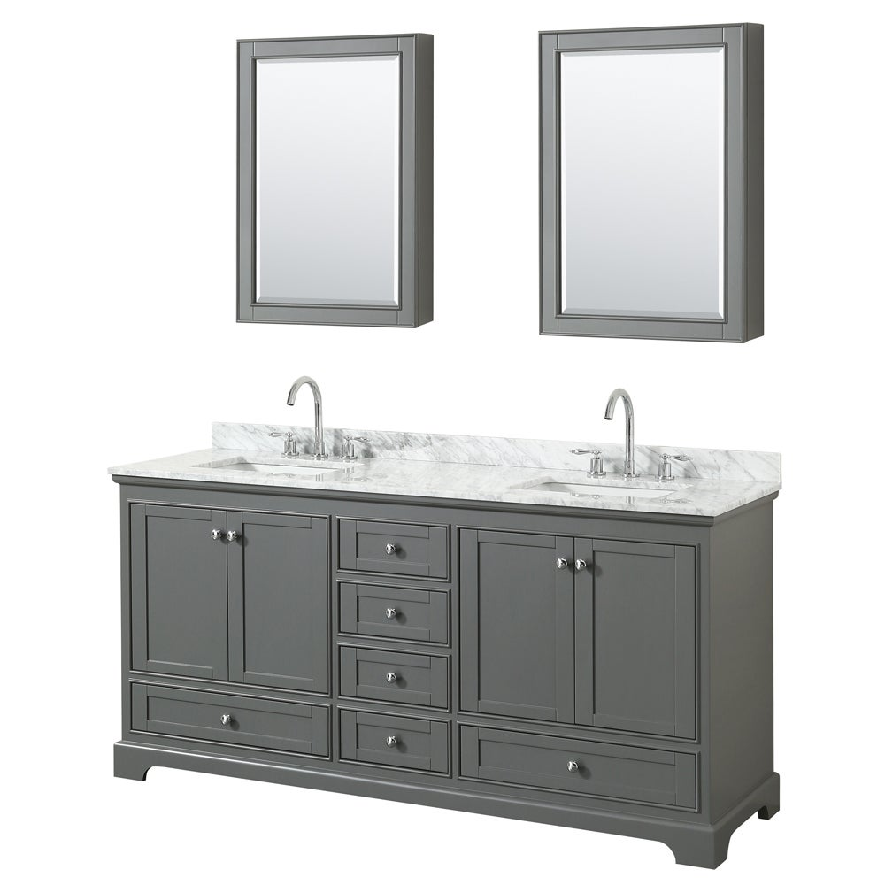 Wyndham Collection Deborah 72-inch Double Bathroom Vanity with ...