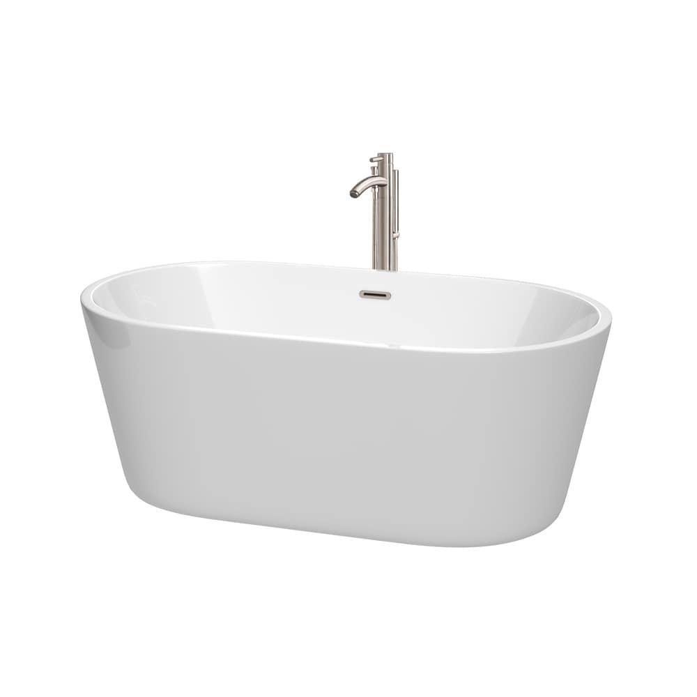 Wyndham Collection Carissa 60inch Freestanding Bathtub in White