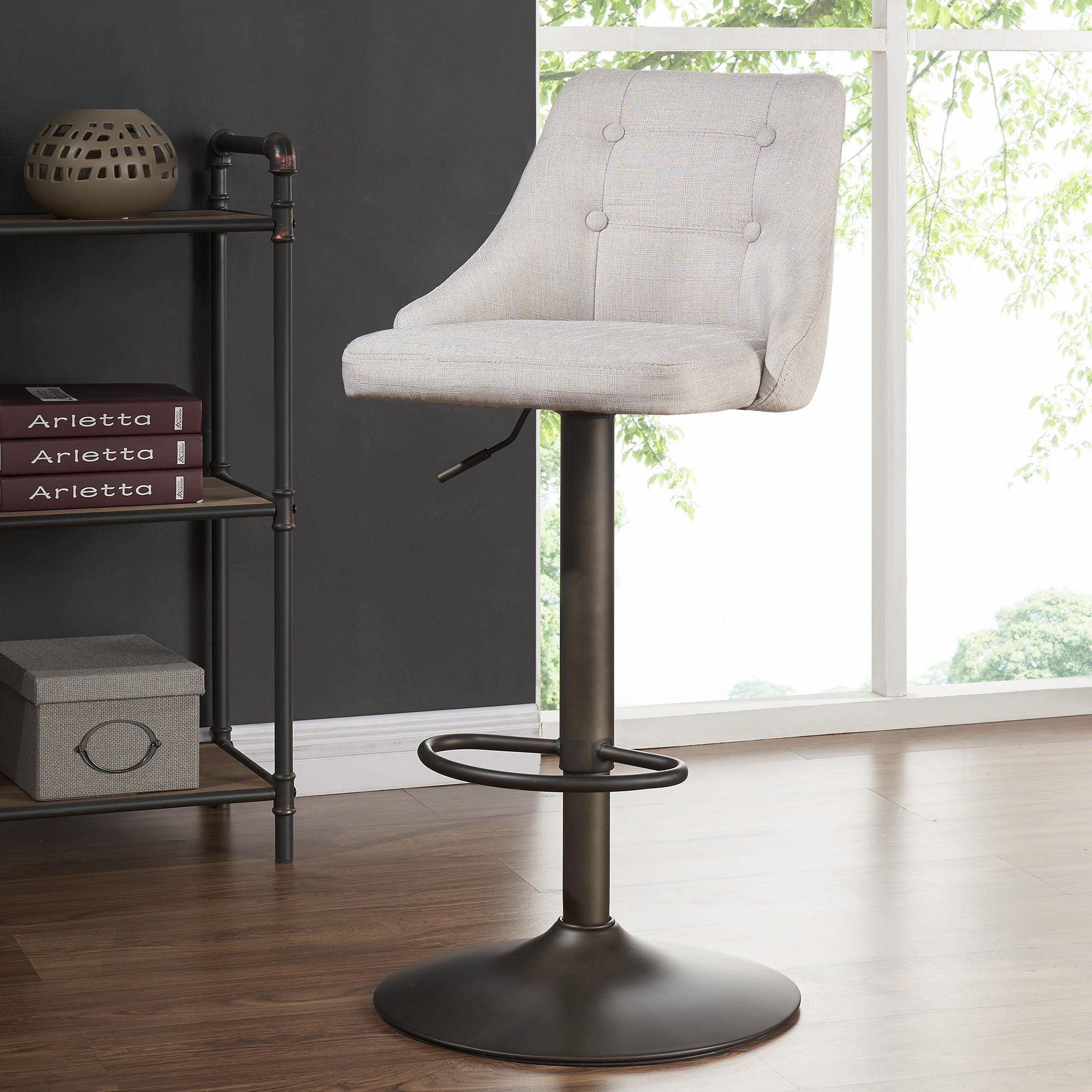 Shop Adyson Fabric Adjustable Height Stools   Free Shipping Today    Overstock.com   16342252