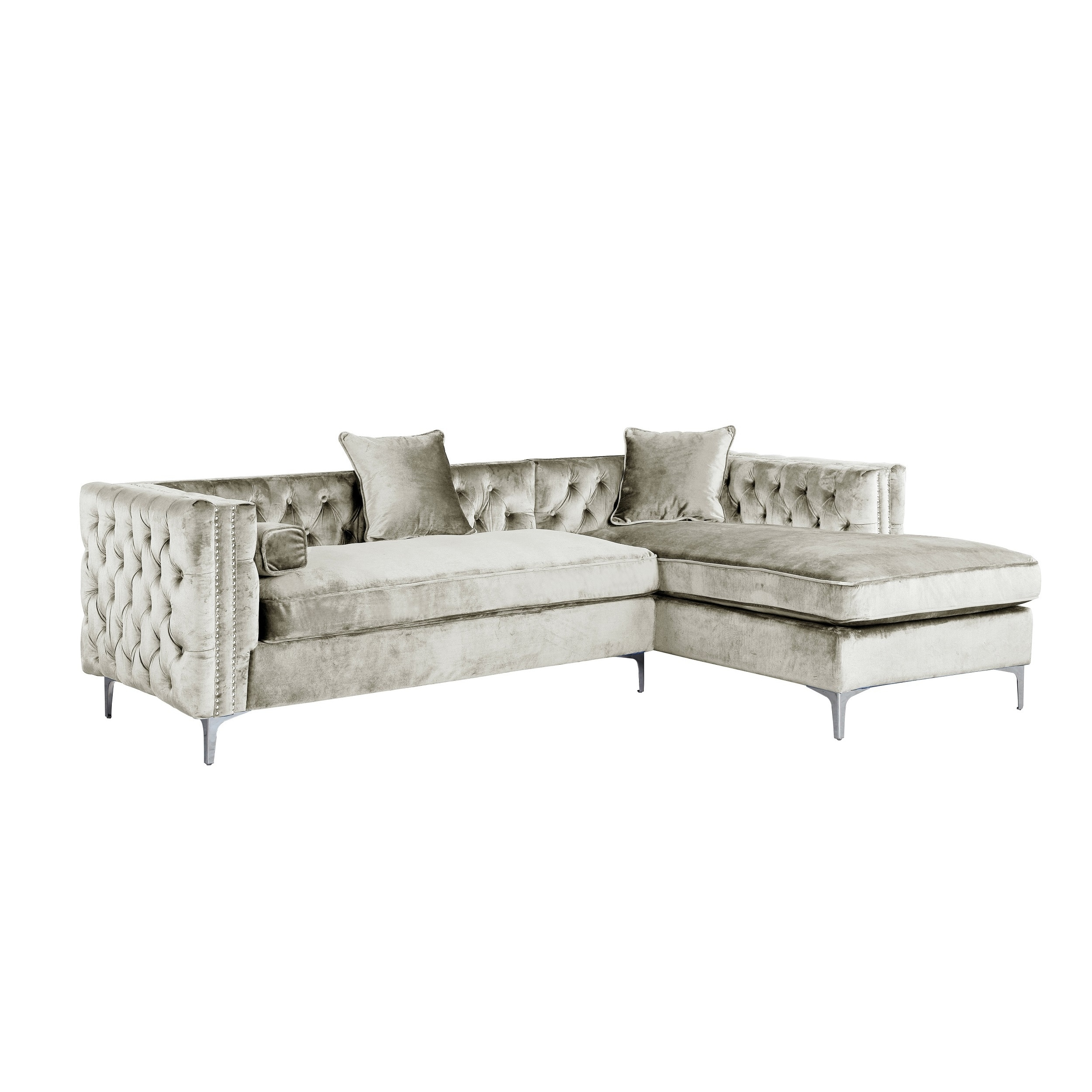 Shop Chic Home Monet Button Tufted With Silver Nailhead Trim Metal Y Leg  Left Facing Sectional Sofa, Silver   On Sale   Free Shipping Today    Overstock.com ...