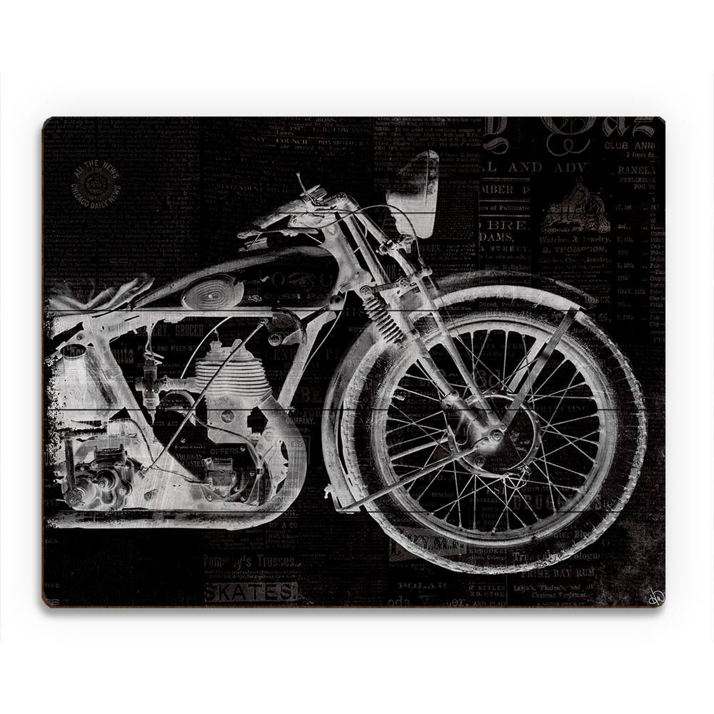 Vintage motorcycle on black wall art print on wood