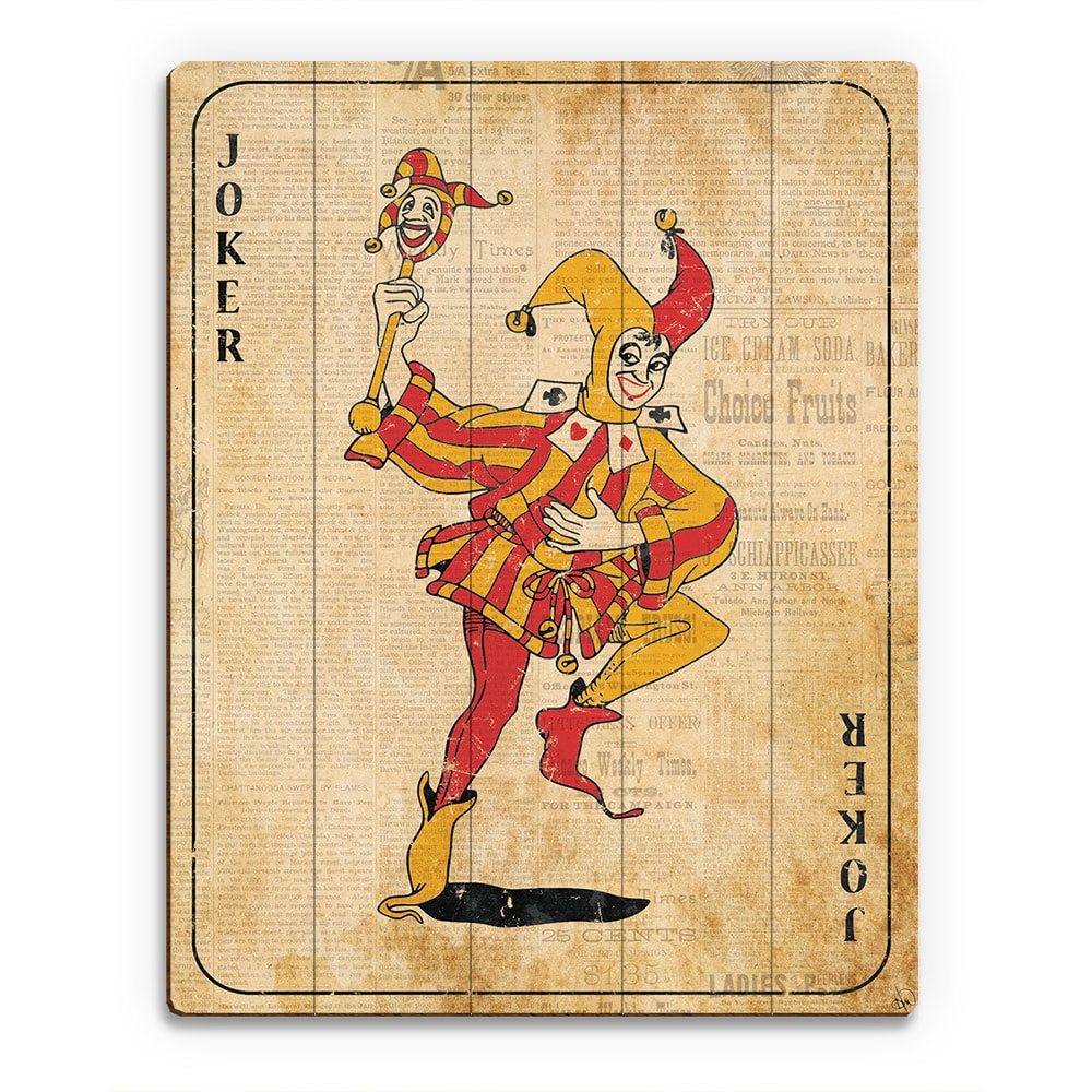 Shop Vintage Joker Playing Card Wall Art Print on Wood - On Sale ...