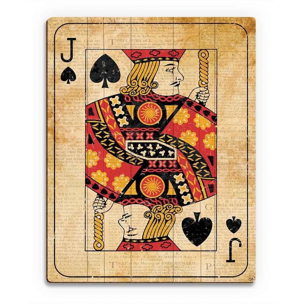 Shop Vintage Jack Playing Card Wall Art Print on Wood - On Sale ...