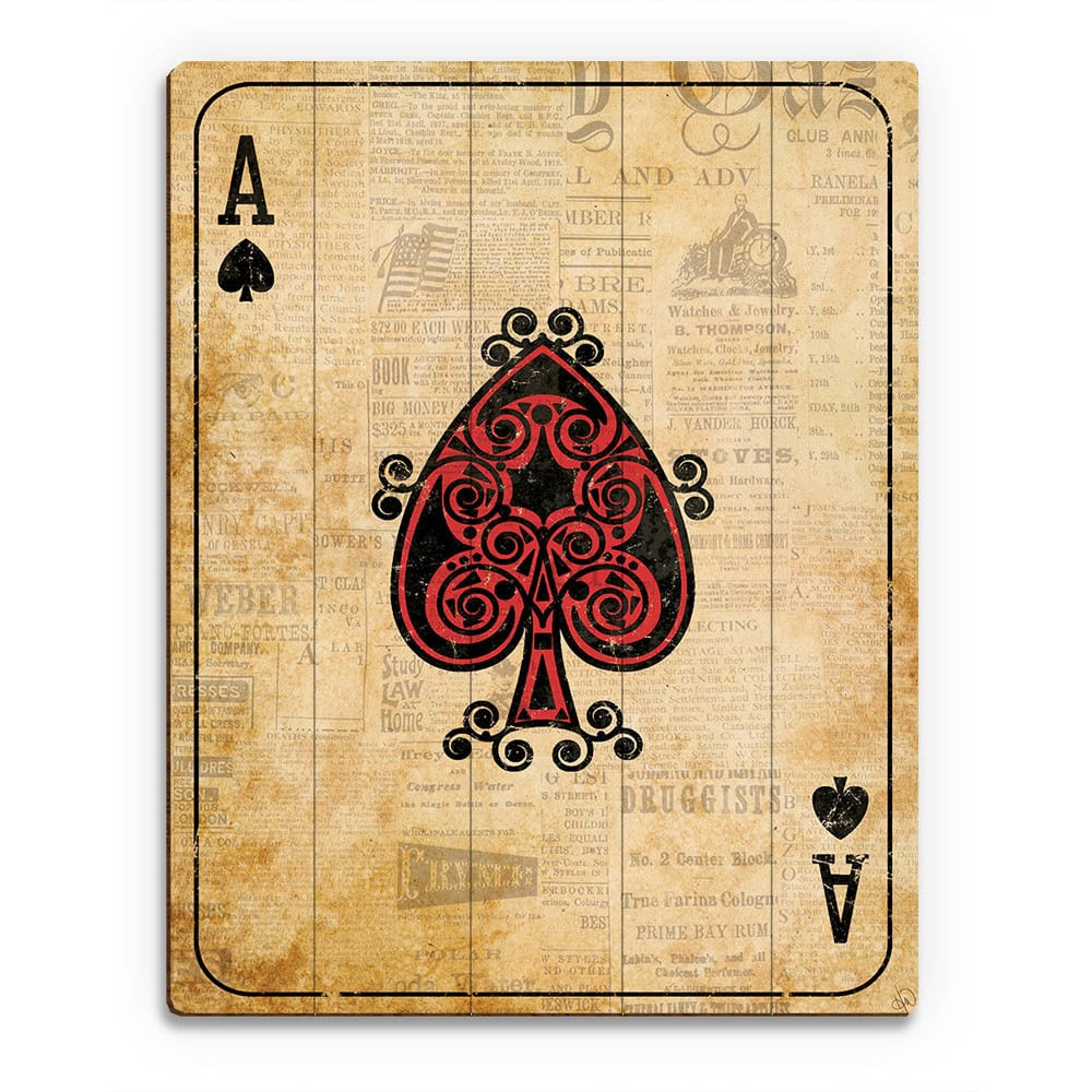 Shop Vintage Ace Playing Card Wall Art Print on Wood - On Sale ...