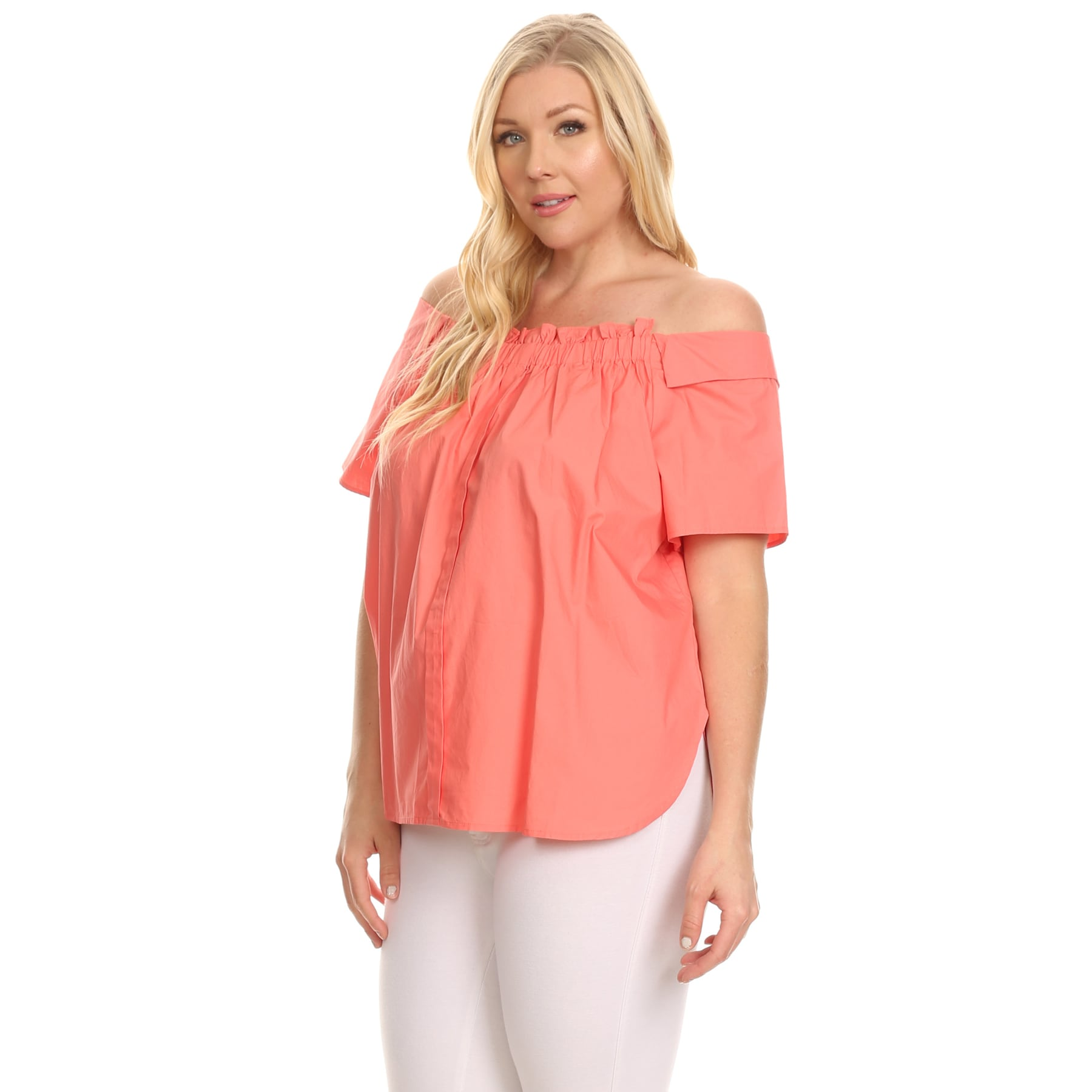 c4ae23f9b40 Shop Xehar Women s Plus Size Ruffle Front Off Shoulder Blouse Top - Free  Shipping On Orders Over  45 - Overstock - 16345756