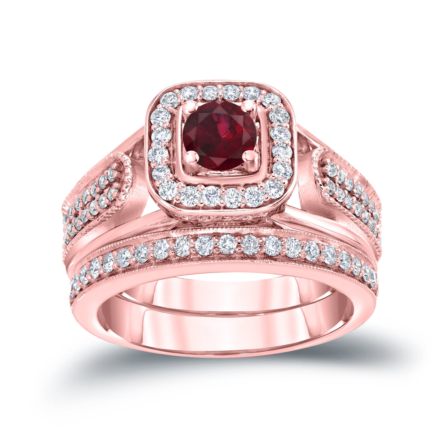 Auriya 14k Gold 1/6ct Ruby and 1/2ct TDW Halo Diamond Engagement ...