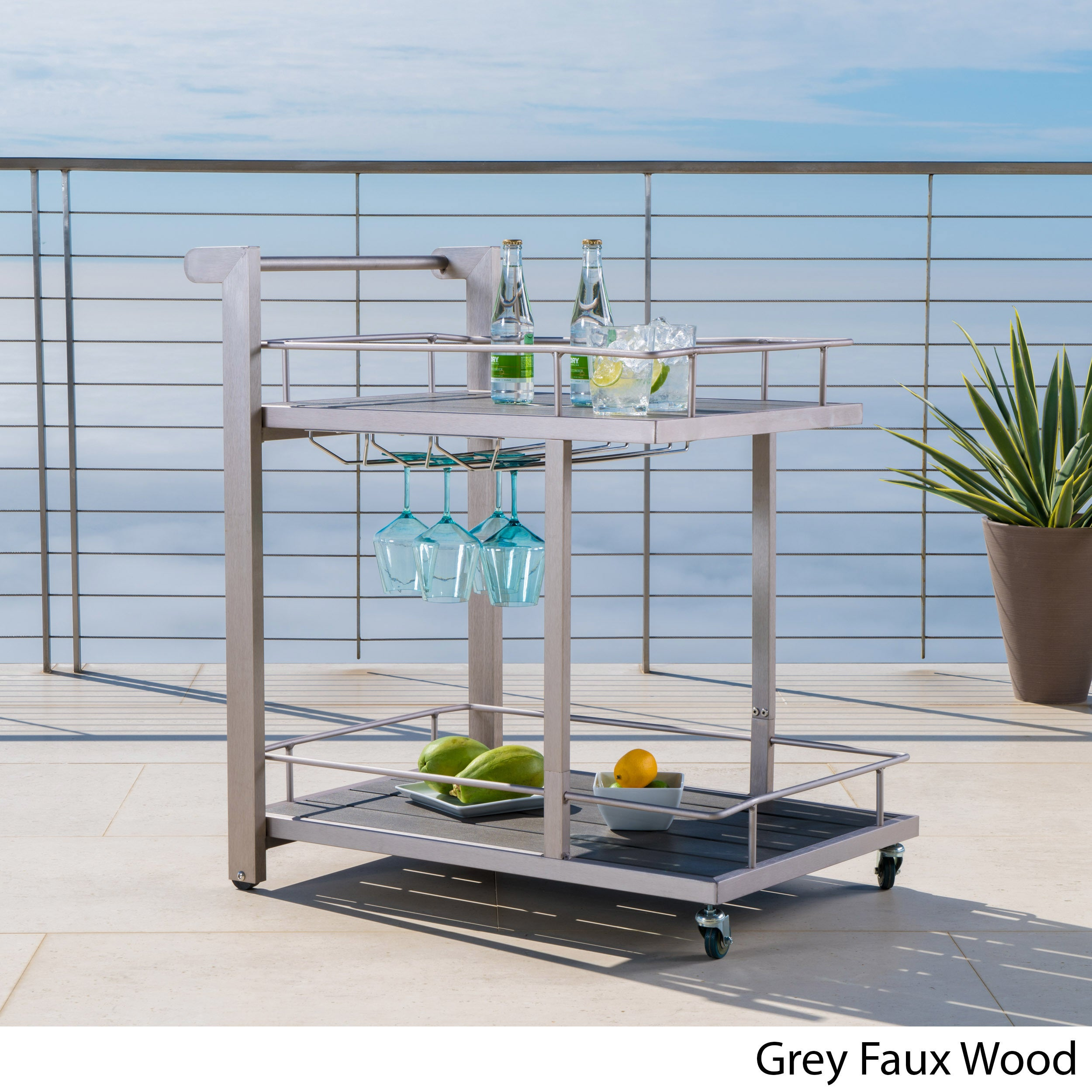 Shop Cape Coral Outdoor Aluminum Bar Cart by Christopher Knight Home ...