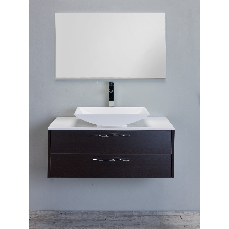 Eviva Zenvi Modern Dark Brown Wenge 39-inch Bathroom Vanity Set with ...