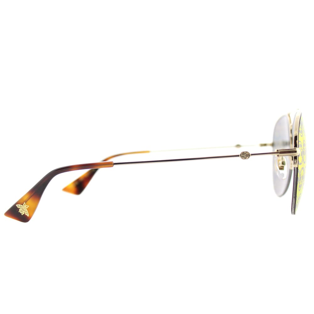 370ce690fb2 Shop Gucci GG 0107S 002 Gold Metal Aviator Sunglasses Orange Mirror Lens -  Free Shipping Today - Overstock - 16372110