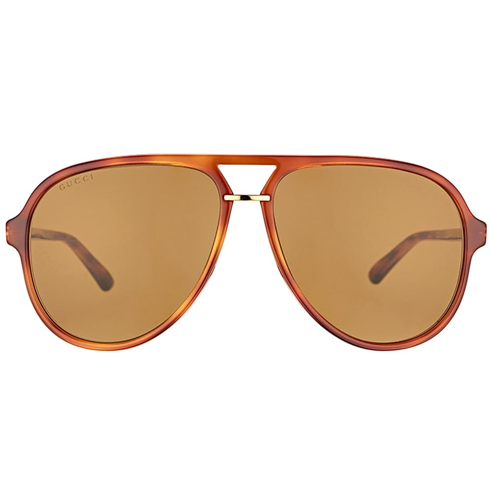 12a0b6855a0 Gucci GG 0015S 003 Blonde Havana Plastic Aviator Sunglasses Brown Lens