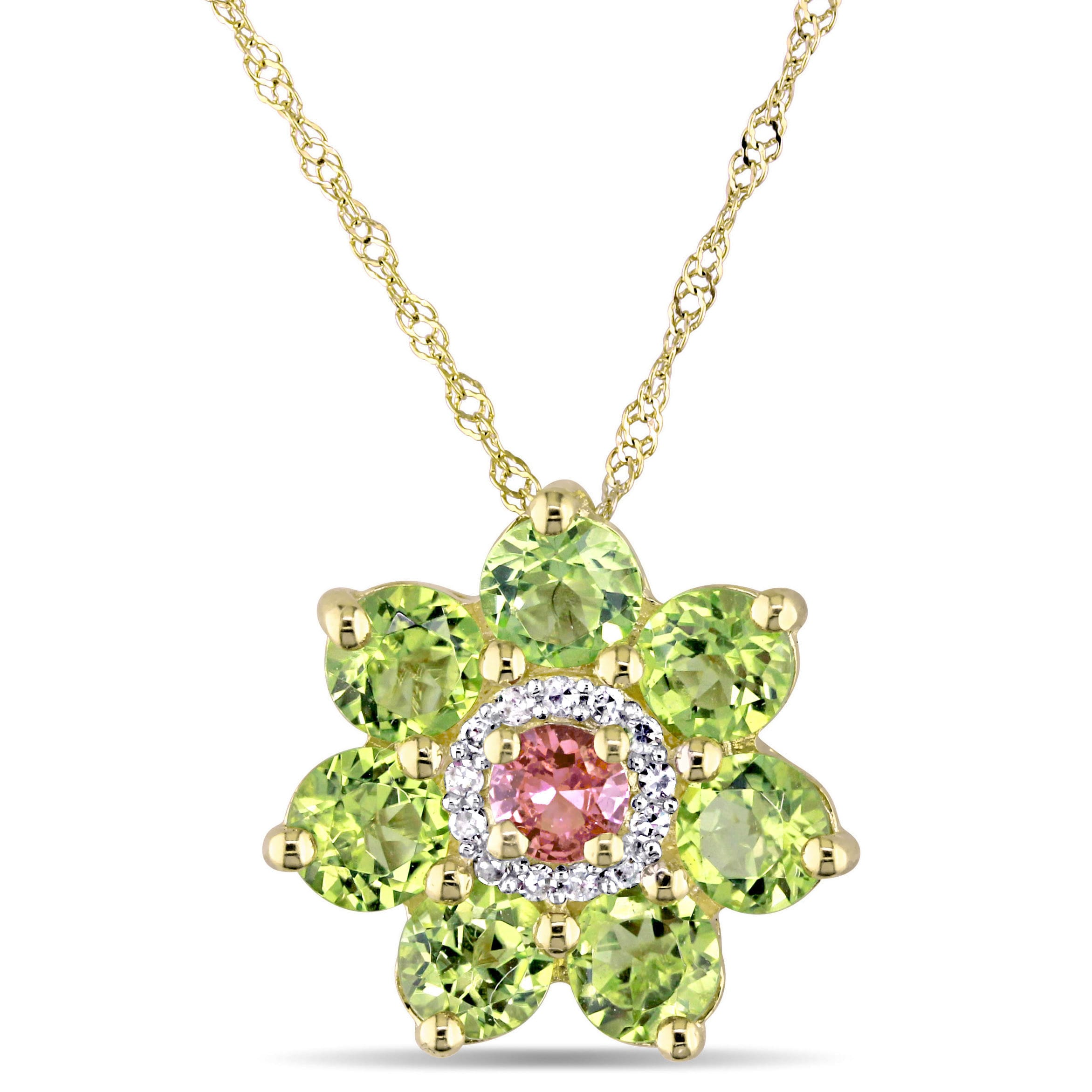 Shop laura ashley peridot pink sapphire and diamond flower necklace shop laura ashley peridot pink sapphire and diamond flower necklace in yellow plated sterling silver free shipping today overstock 16372270 mightylinksfo