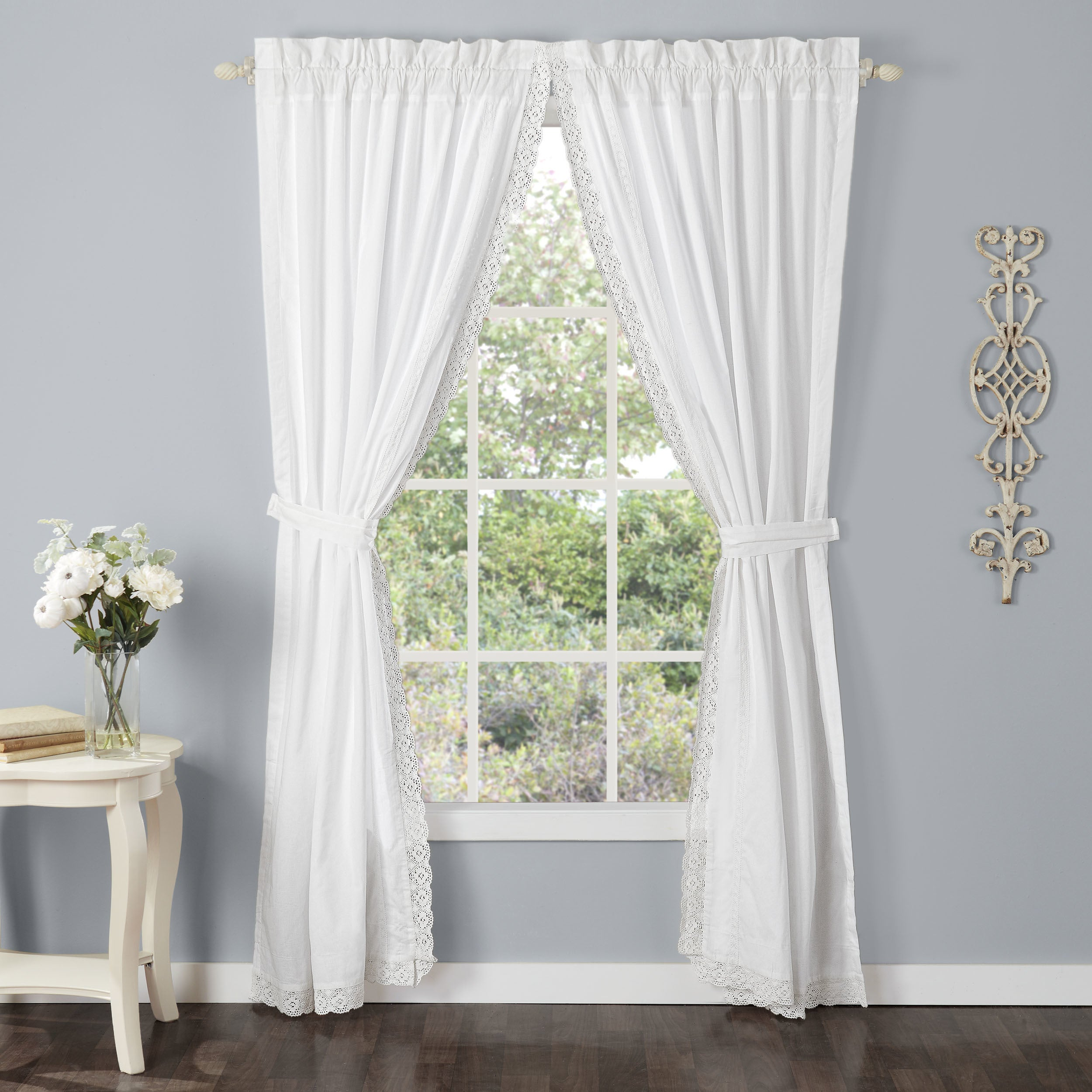 Laura Ashley Annabella Lace Curtain Panel Set Free Shipping Today 16372421