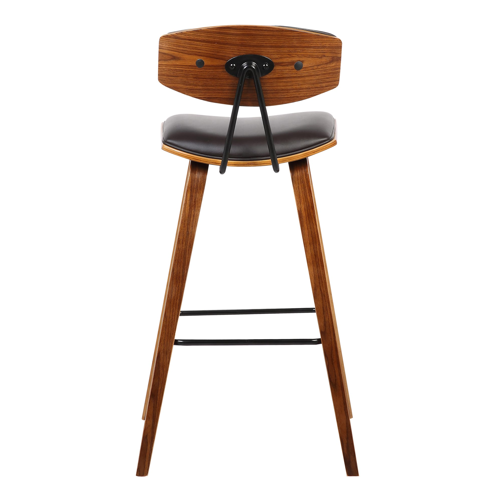 Armen Living Fox Mid Century Brown Faux Leather Barstool With Walnut Wood  Frame   Free Shipping Today   Overstock   22729449