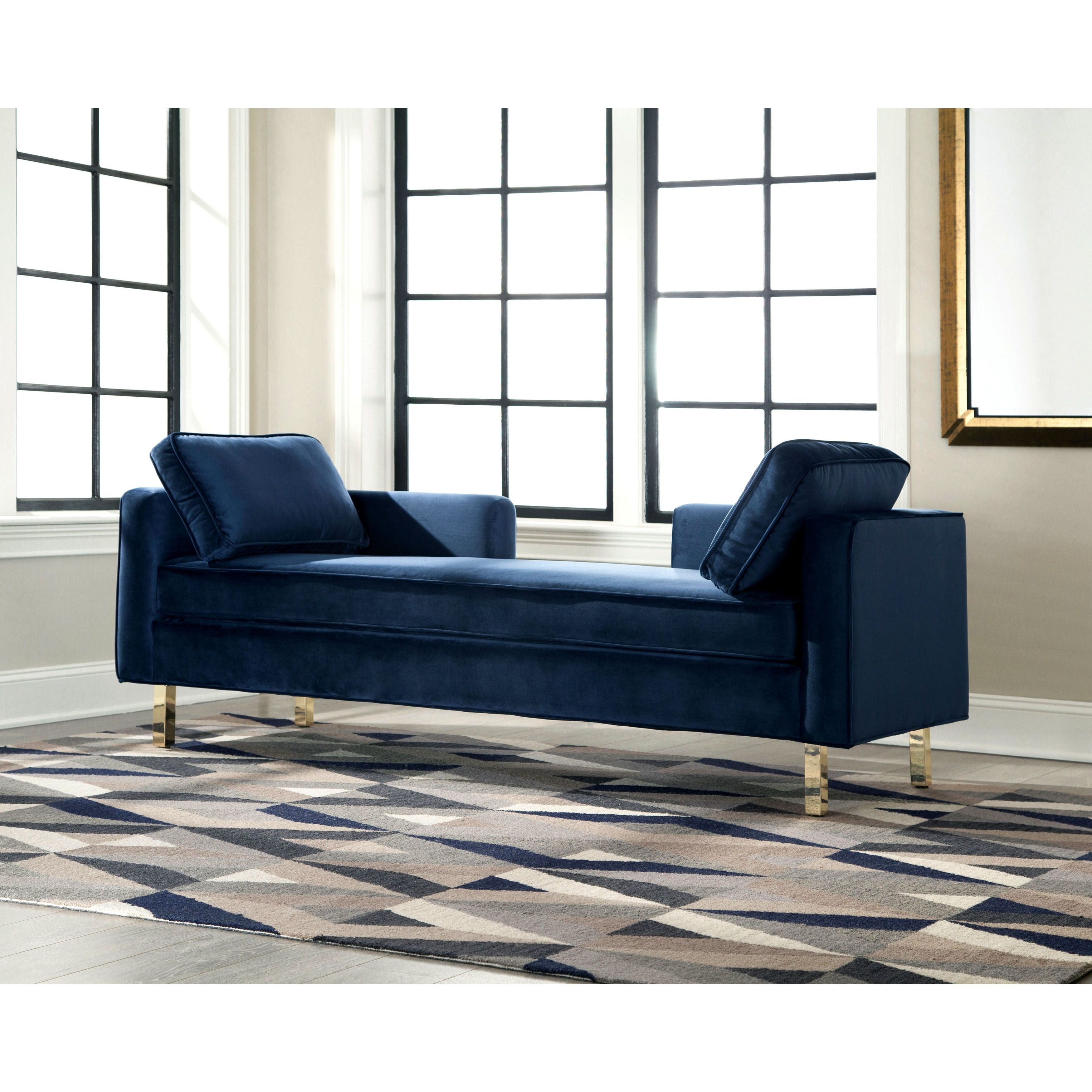 Shop Modern Design Navy Accent Double Chaise Sofa - Free Shipping ...