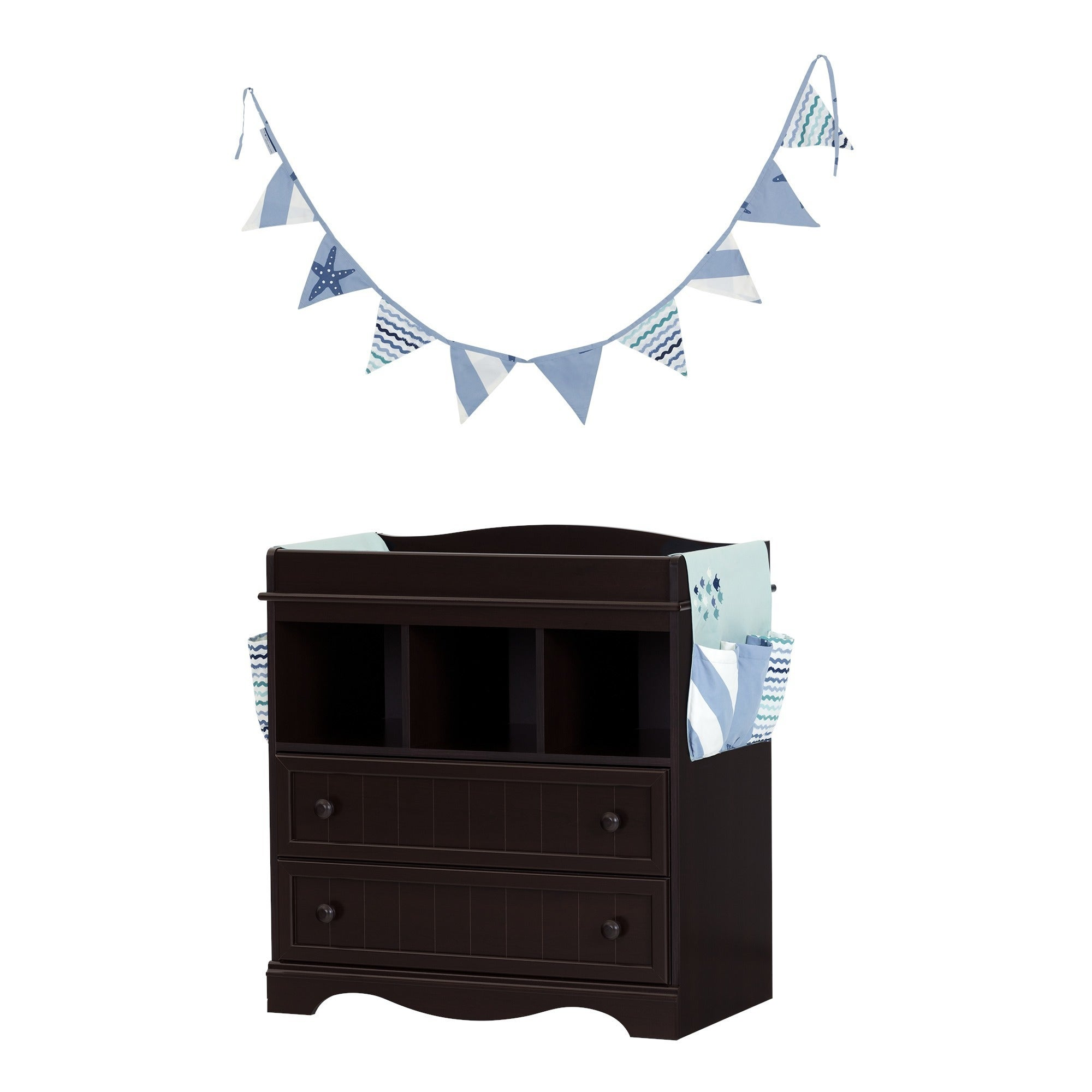 South Shore Savannah Espresso And Blue Changing Table With Little Whale  Runner And Pennant Banner   Free Shipping Today   Overstock   22729524