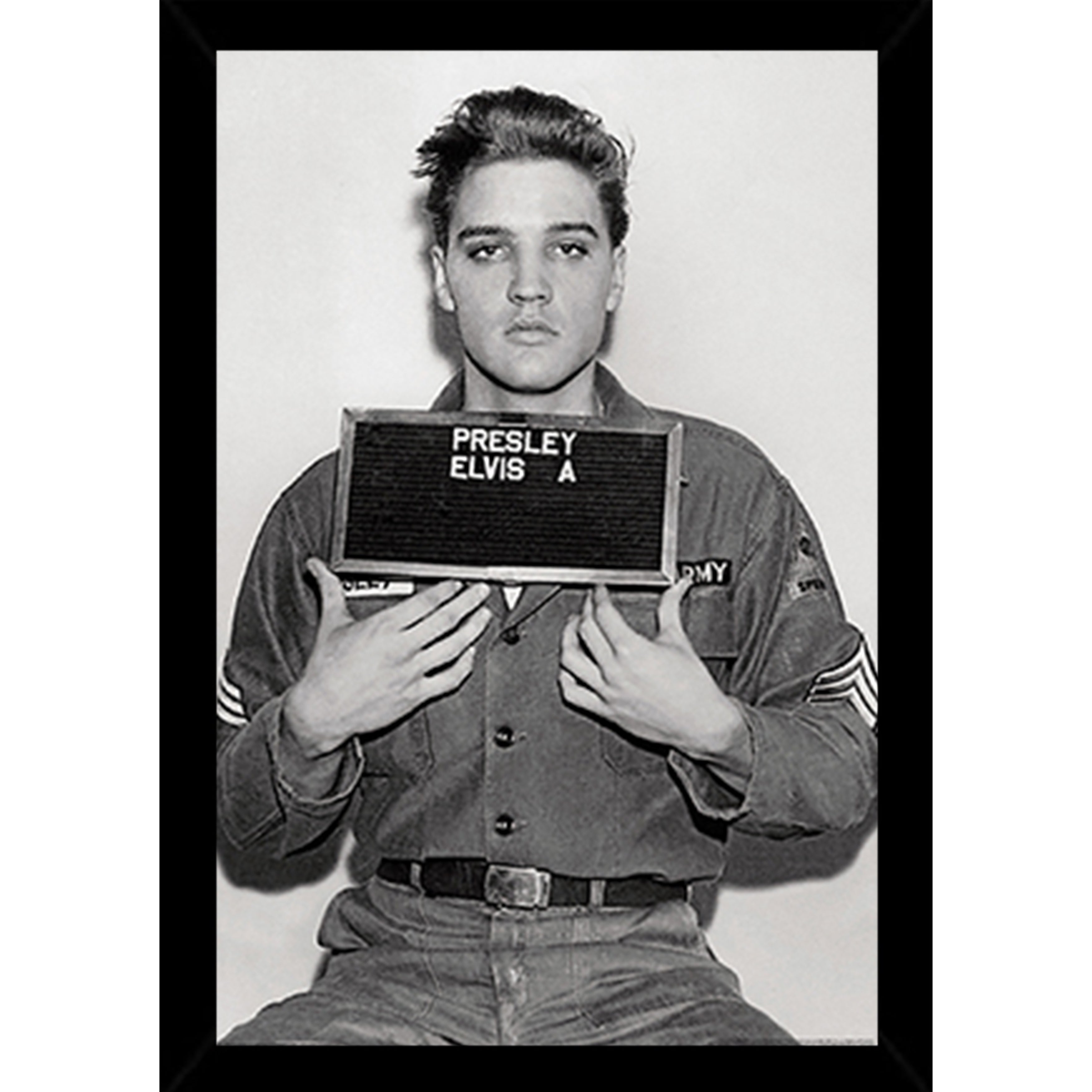 8a7751a2a1fc Elvis Presley - Enlistment Photo Poster in a Black Poster Frame (24x36)