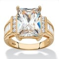 Emerald-Cut Cubic Zirconia Engagement Ring 13.22 TCW in 14k Yellow Gold over Sterling Silver Classic CZ