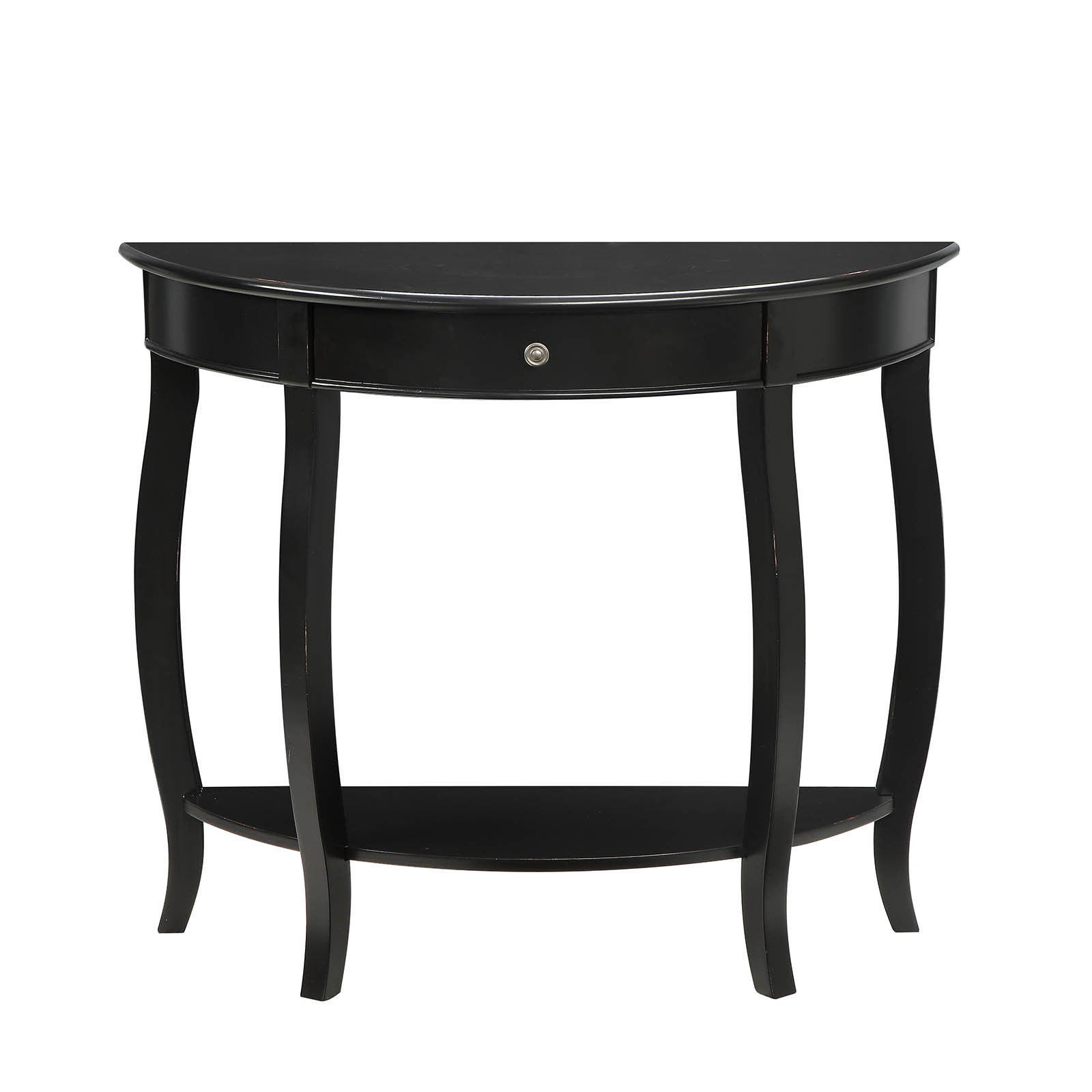 Delicieux Shop Yvonne Half Moon Console Table With Drawer In Antique Black   Free  Shipping Today   Overstock.com   16381682
