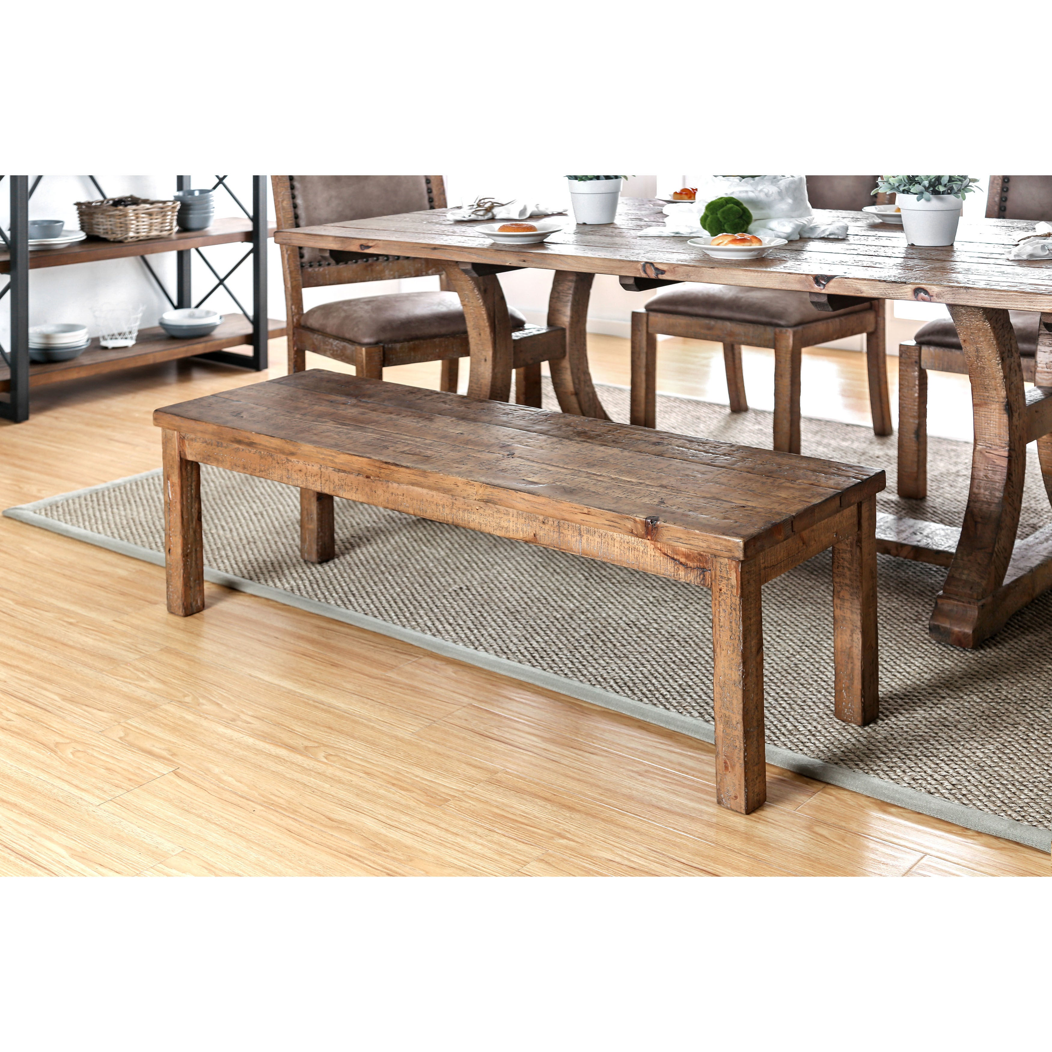 Shop furniture of america matthias industrial rustic pine dining bench free shipping today overstock com 16383591