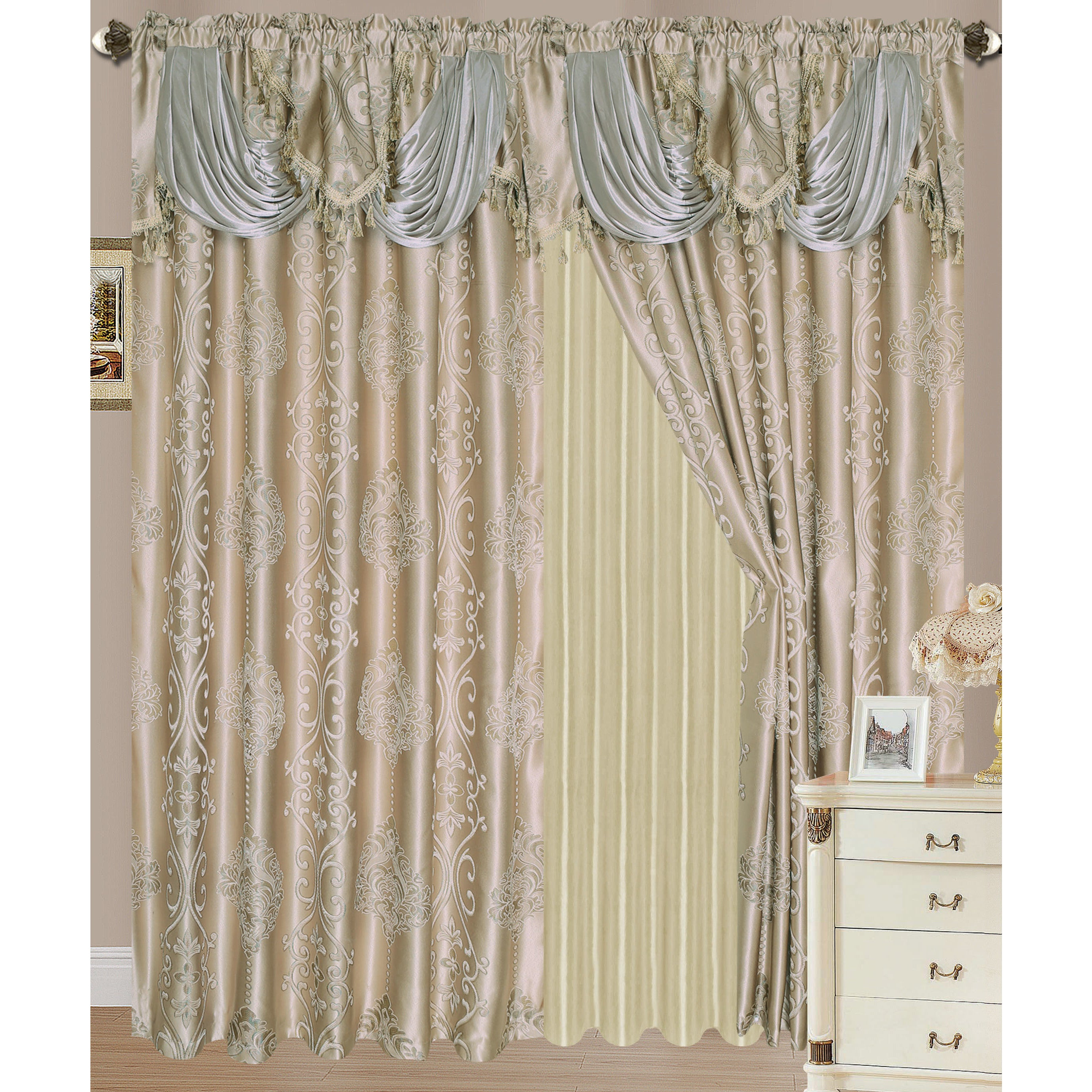 RT Designers Collection Rosetta Jacquard 84-inch Double-rod Pocket ...