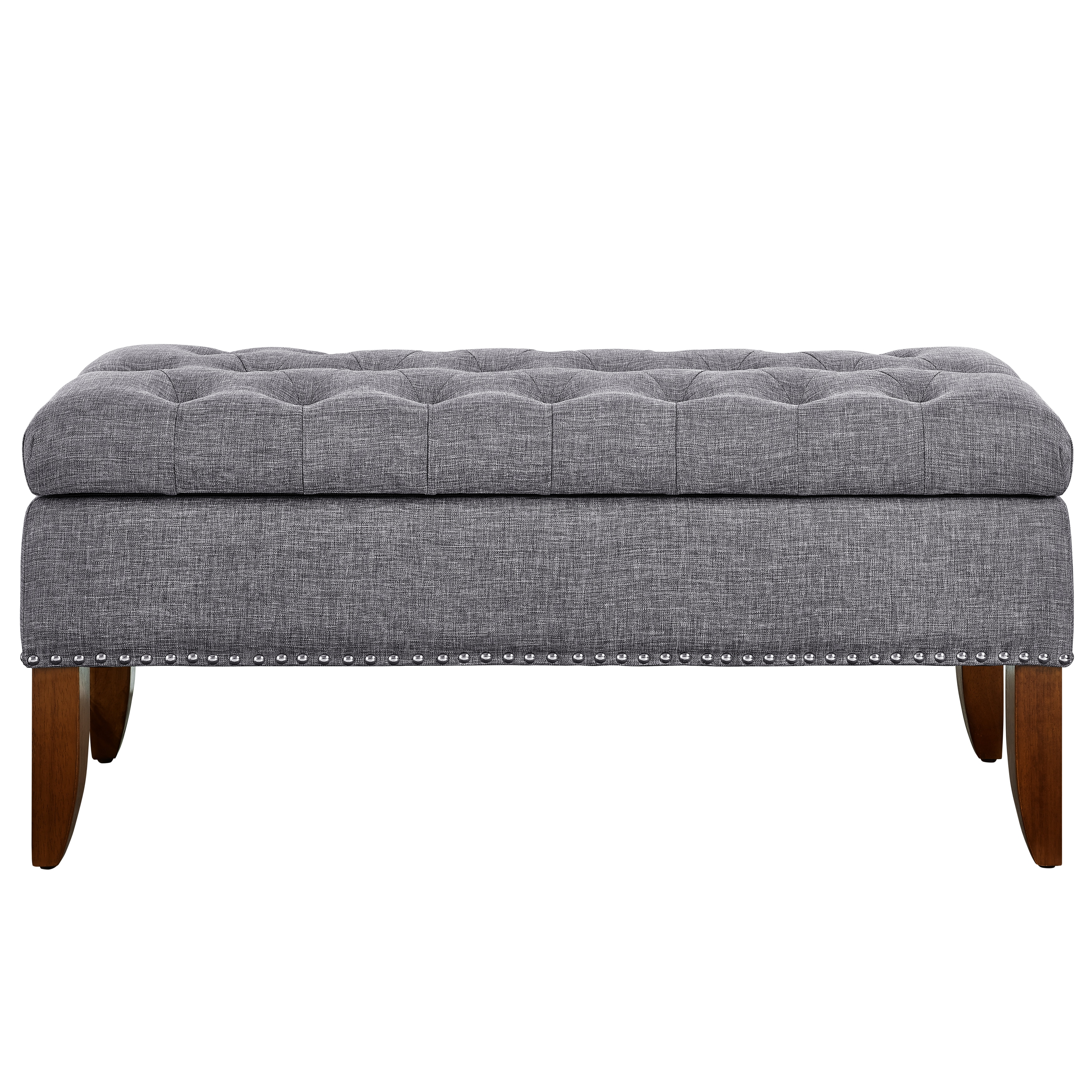 Shop Grey Upholstered Wood Hinged Top Button Tufted Storage Bed
