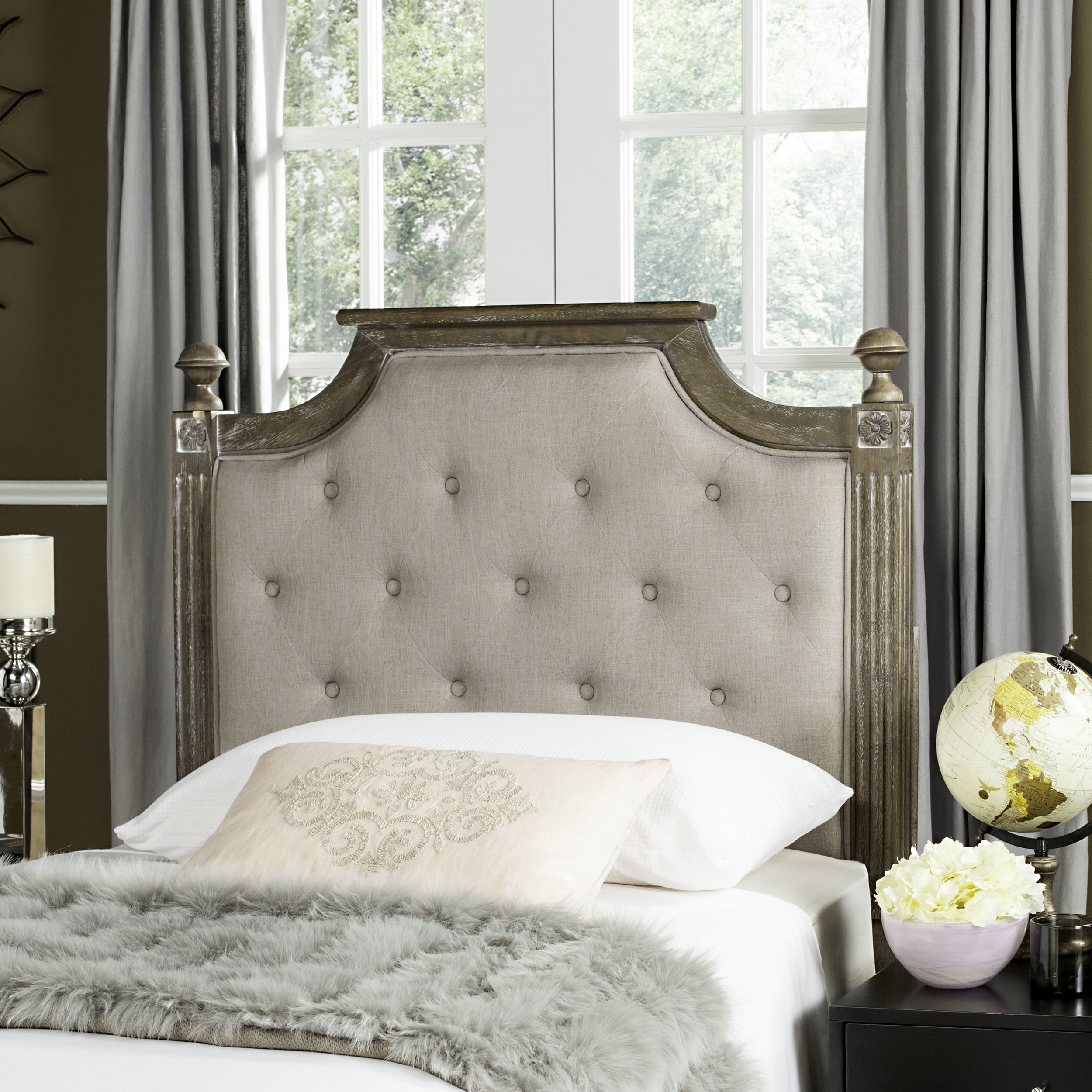 Safavieh Rustic Wood Taupe Tufted Linen Headboard Twin Free Shipping Today 16391265