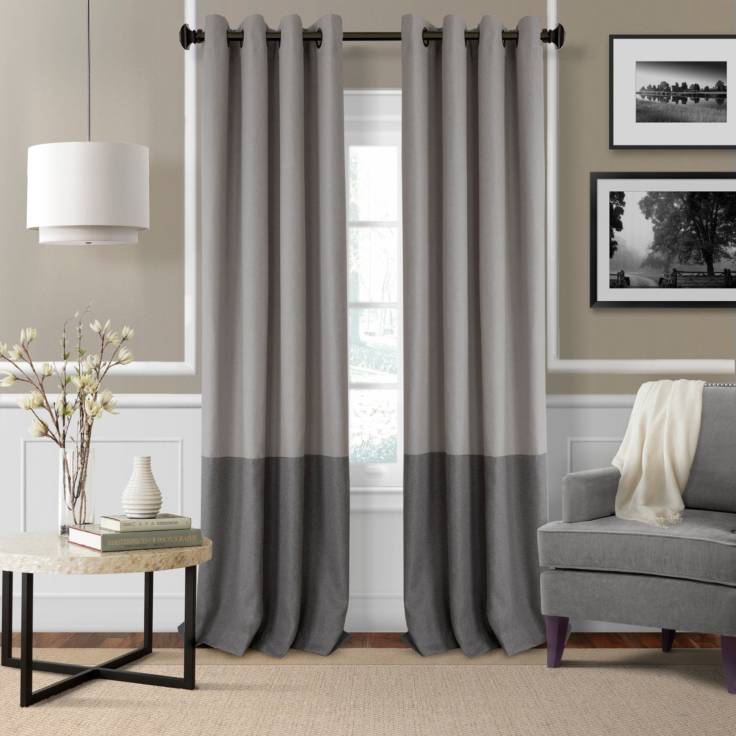 overstock on garden curtain linen home free panel product sheer gray orders curtains over vcny shipping stripe windsor pair