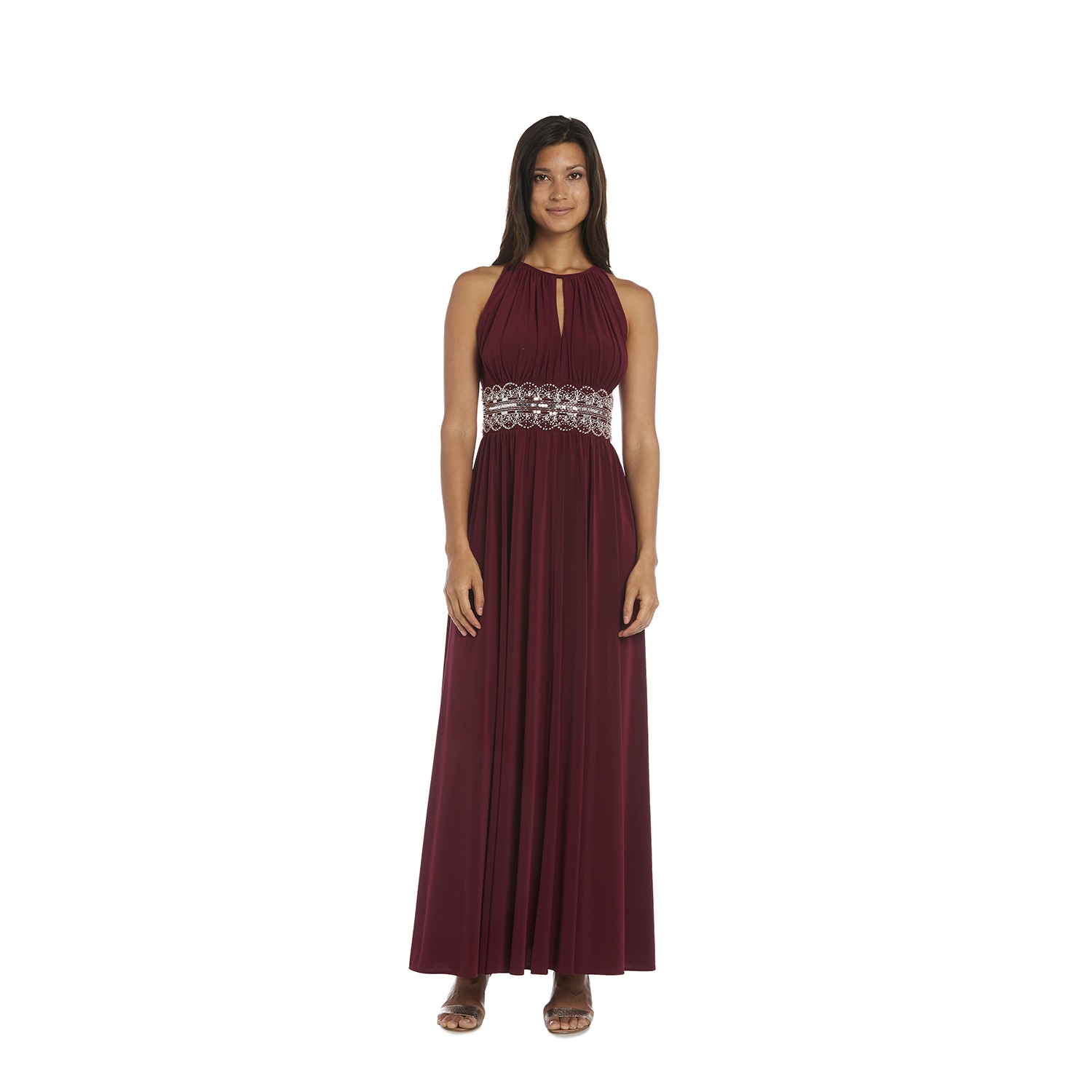 Shop R&M Richards Beaded Merlot Evening Gown - Free Shipping Today ...