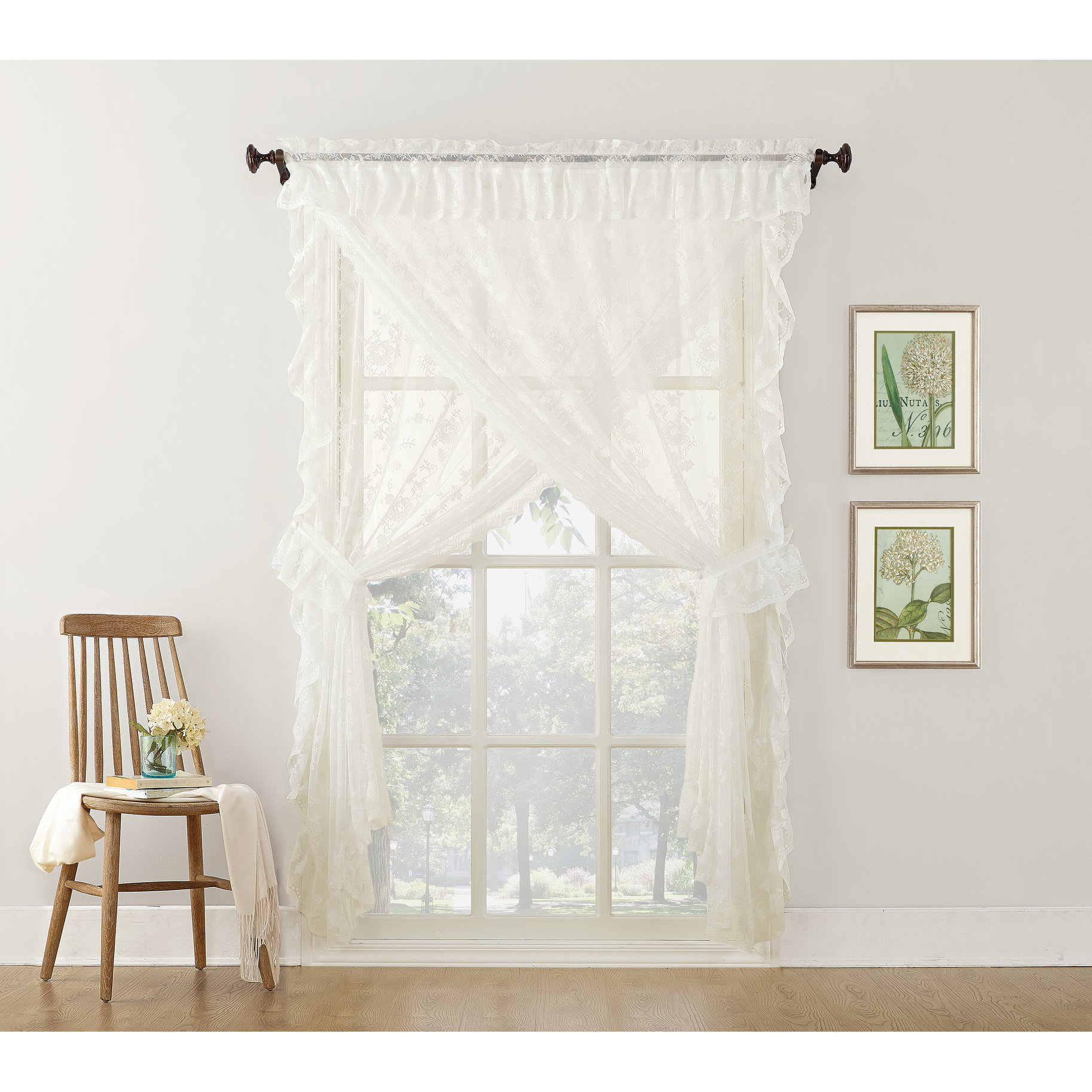 No 918 Alison Priscilla Ruffled Fl Lace Sheer 5 Piece Curtain Set Free Shipping On Orders Over 45 16402431