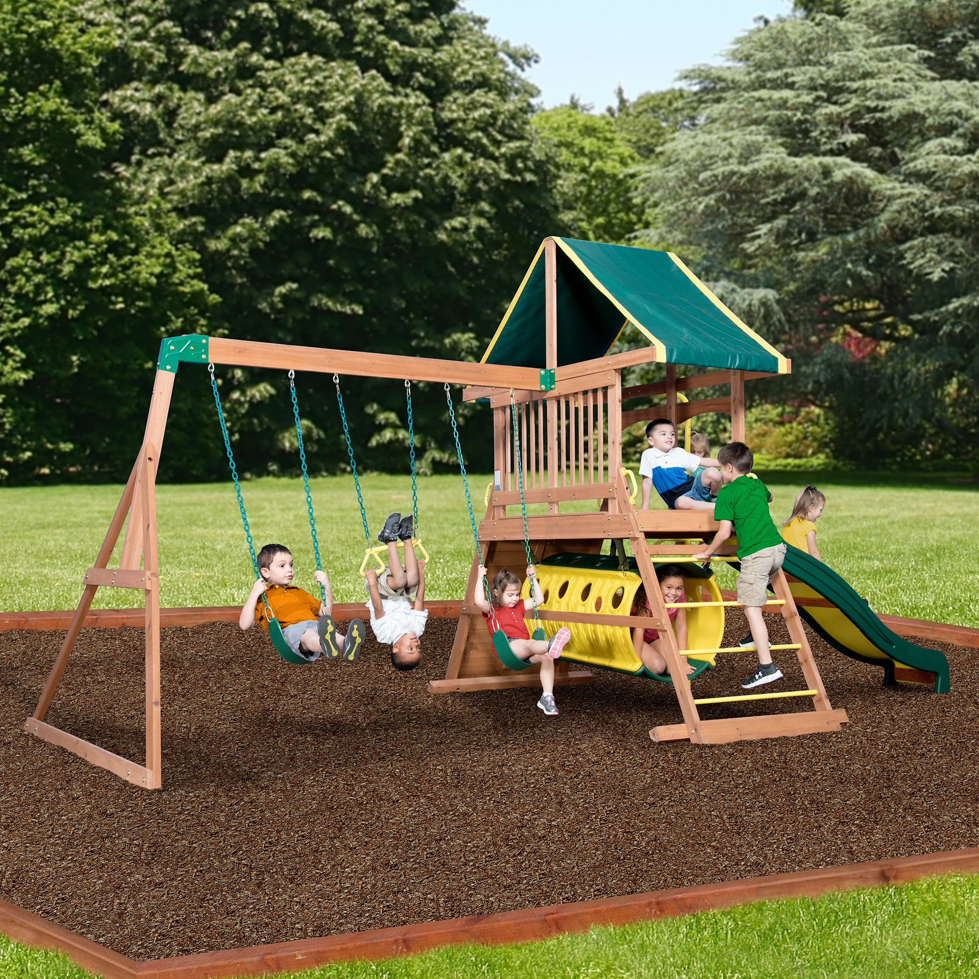 timber designs swing backyard creativecedardesigns creative reviews baby valley set kids discovery somerset wood wayfair pdx cedar