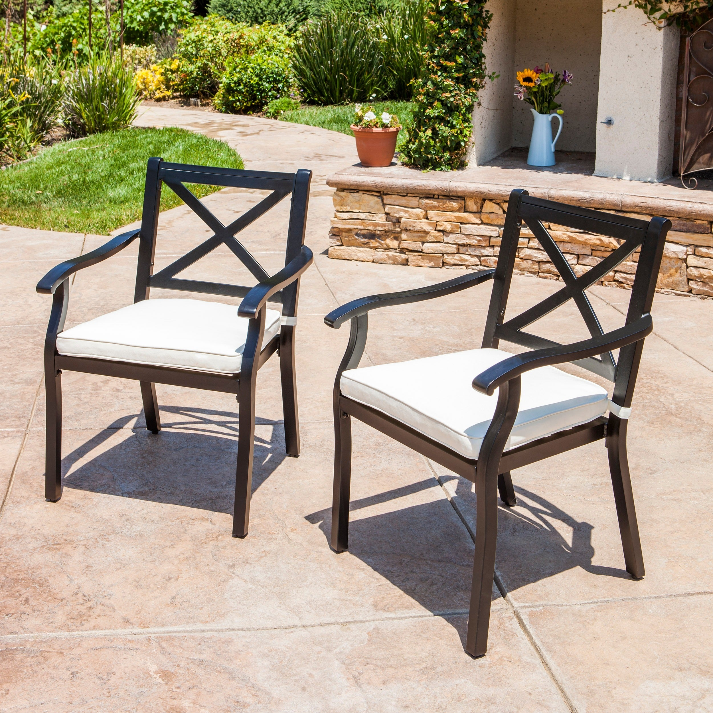 Shop Exuma Outdoor Black Cast Aluminum Dining Chairs With Ivory Water  Resistant Cushions (Set Of 2) By Christopher Knight Home   Free Shipping  Today ...