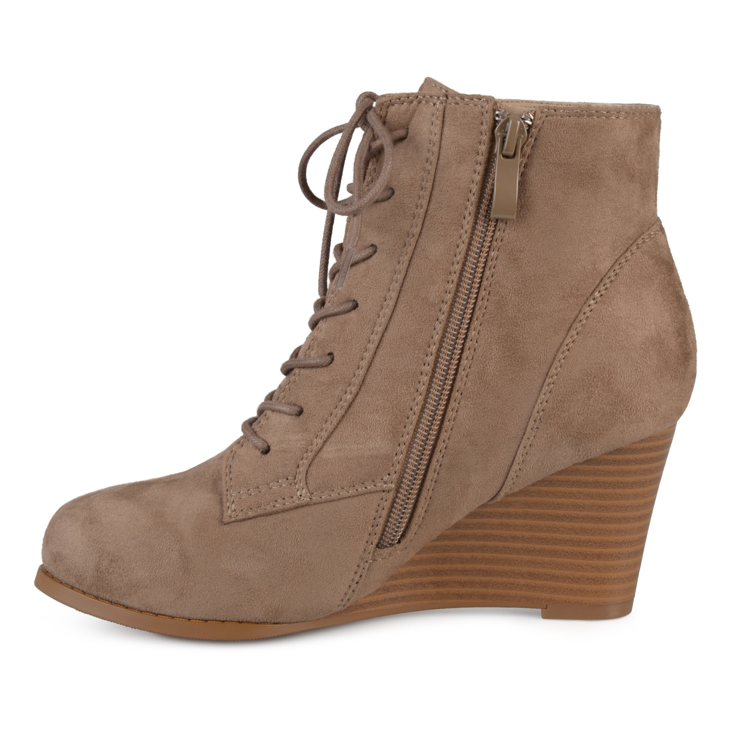 c26b982d0f7a2 Shop Journee Collection Women s  Magely  Lace-up Stacked Wedge Booties -  Free Shipping Today - Overstock - 16413235