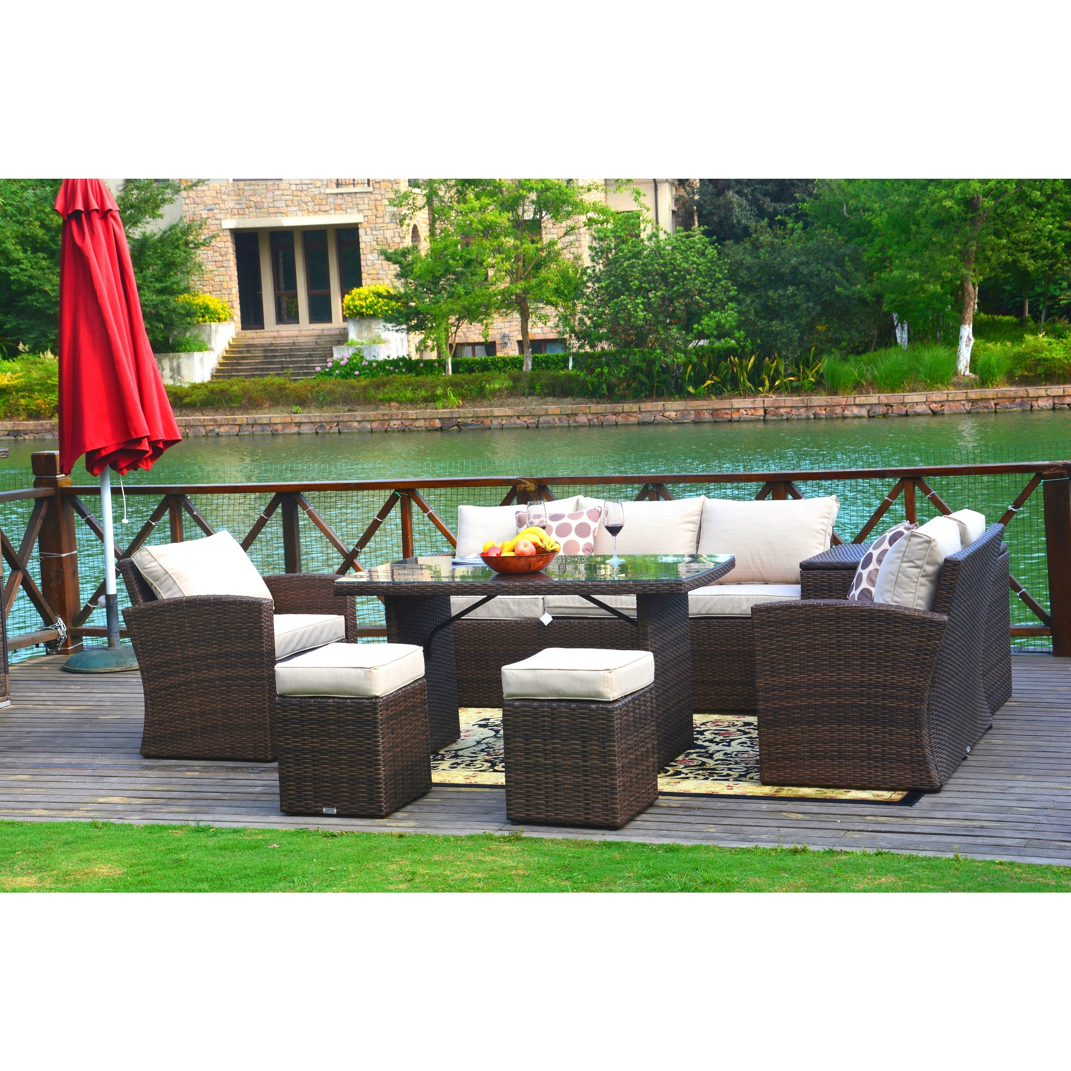 Direct Wicker Cannes Outdoor 7 piece Patio Furniture Set with Side