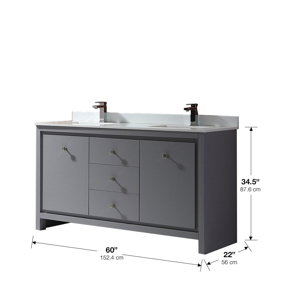 Shop OVE Decors Kevin 60 in. Bathroom Vanity in Pebble Grey - Free ...