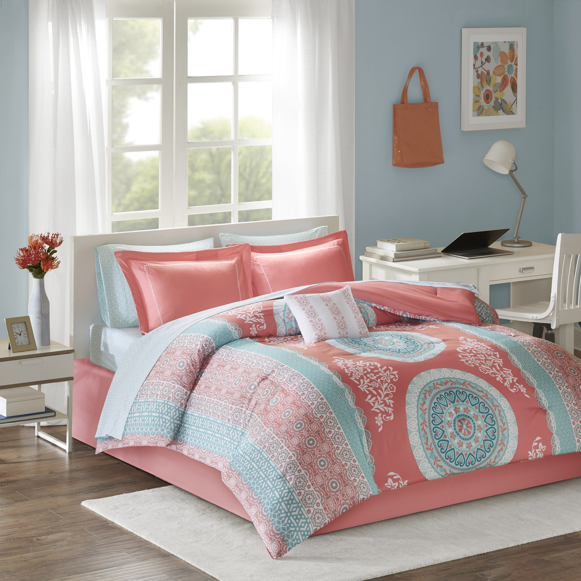 Shop Intelligent Design Eleni Coral Bed in a Bag Set - Free Shipping on coral rings, coral bedroom wallpaper, coral bedroom sets, coral baby bedding, coral bedroom curtains, coral bathroom, coral kitchen, coral bedroom accessories, coral bedroom paint, coral master bedroom, coral bedroom renovations, coral candles, coral bedroom color,