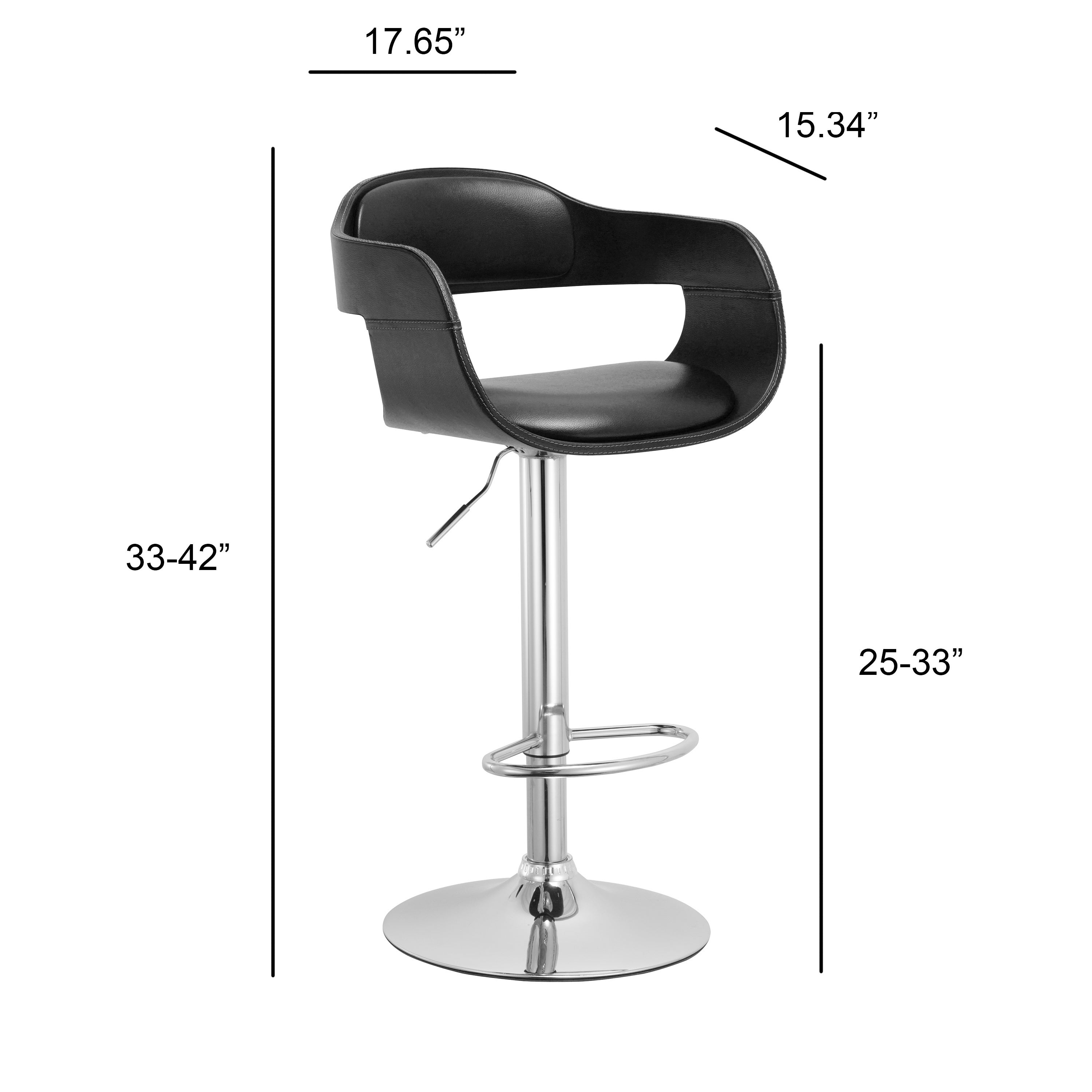Shop Ac Pacific Contemporary Swivel Adjustable Barstool With Padded