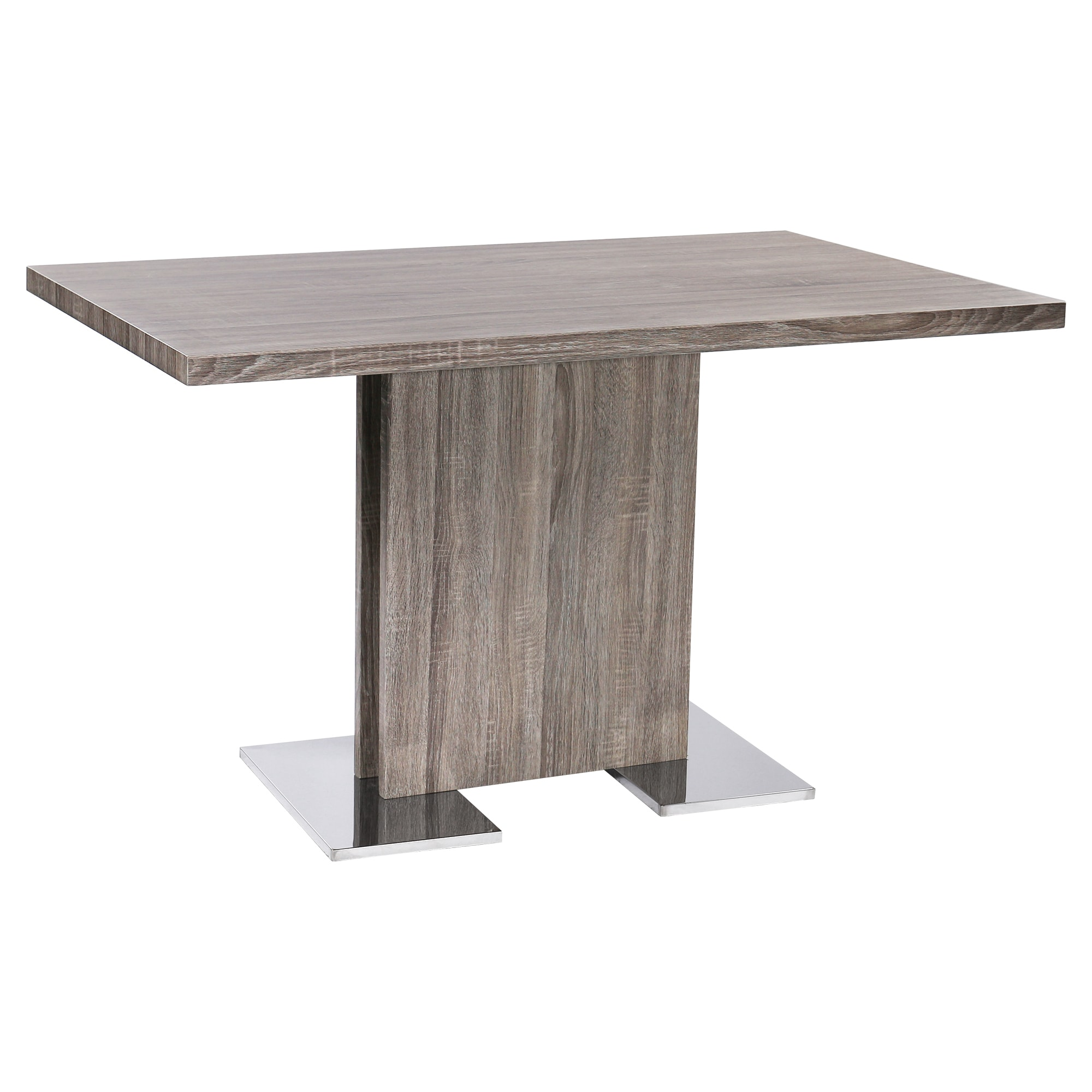 Armen Living Zenith Grey Walnut Dining Table With Brushed Stainless Steel Base On Free Shipping Today 16435197