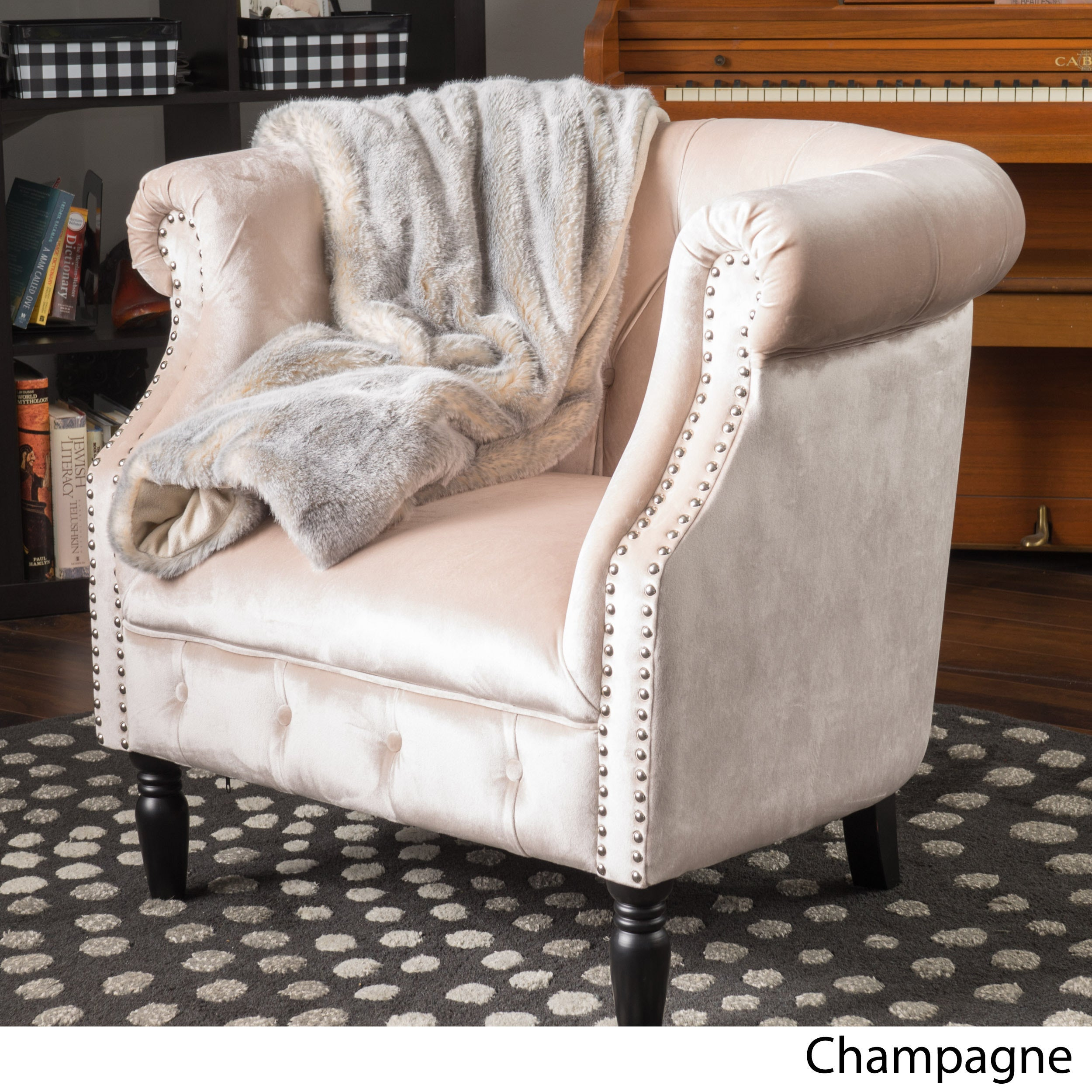 Shop Akira Velvet Club Chair By Christopher Knight Home On Sale Navy M Free Shipping Today 16467009