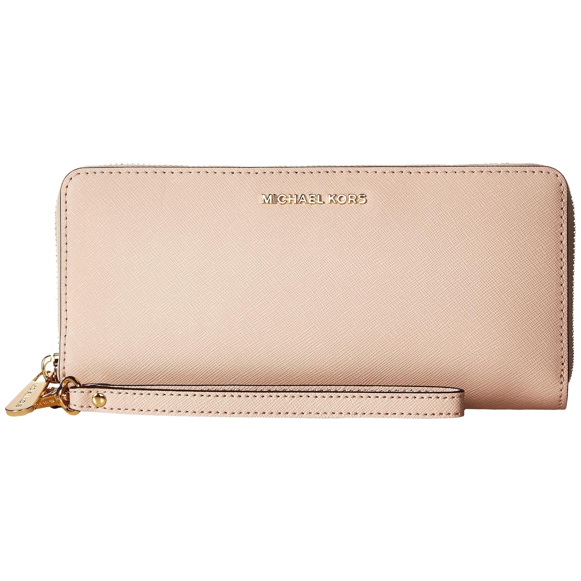 b00c2aeabdbd Shop Michael Kors Jet Set Pink Leather Continental Travel Wallet ...