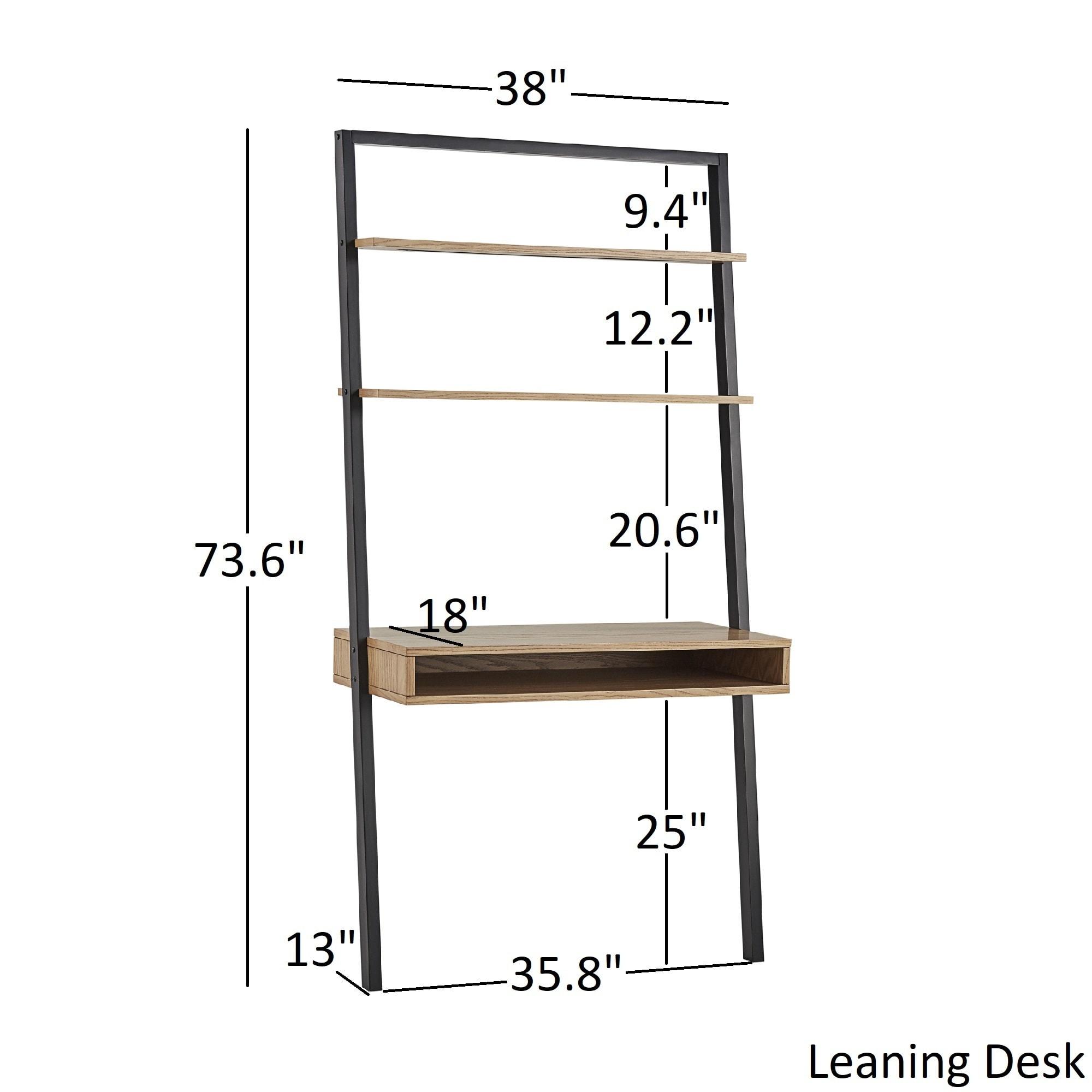 shop ranell leaning desk ladder shelves by inspire q modern free rh overstock com ladder shelf with desk blueprints ladder shelf with desk
