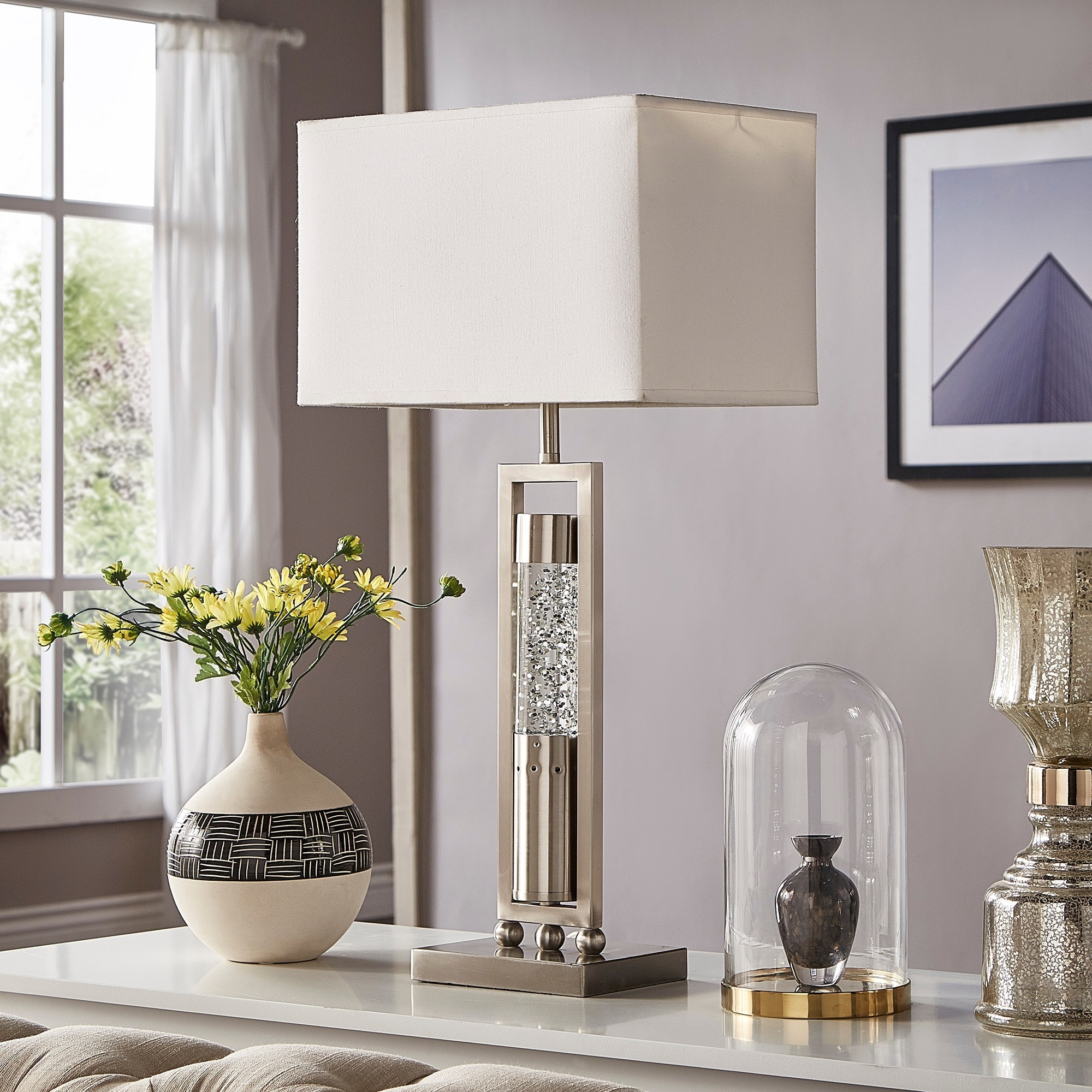 Shop Ursa Rectangular Shade Sparkling Nickel Finish Table Lamp By