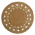 Celebration Natural Jute Round Reversible Braid Dots Rug (4')