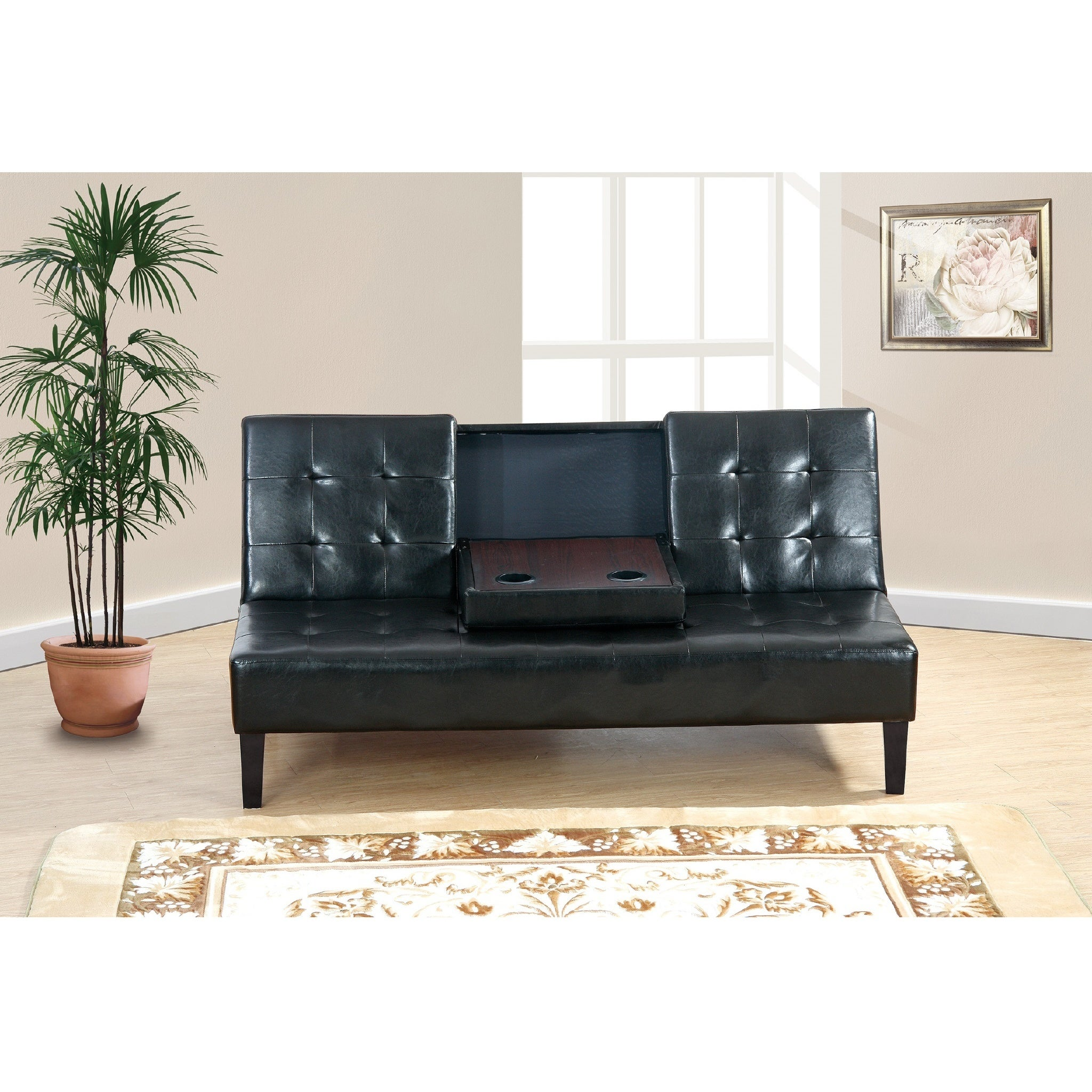 Maplegrove Faux Leather Adjustable Sleeper Sofa   Free Shipping Today    Overstock.com   22836671